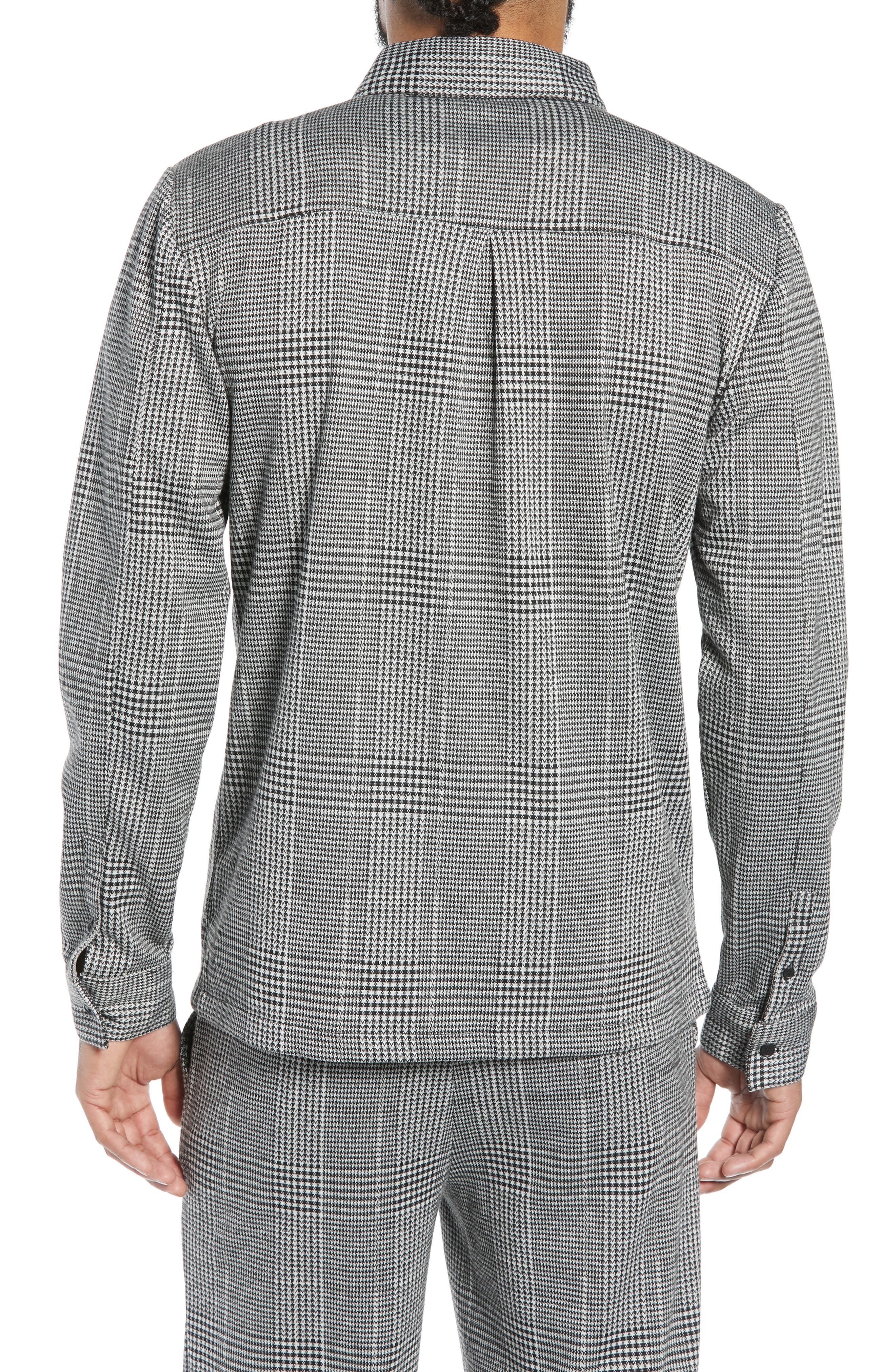 Houndstooth Check Overshirt,                             Alternate thumbnail 2, color,                             BLACK