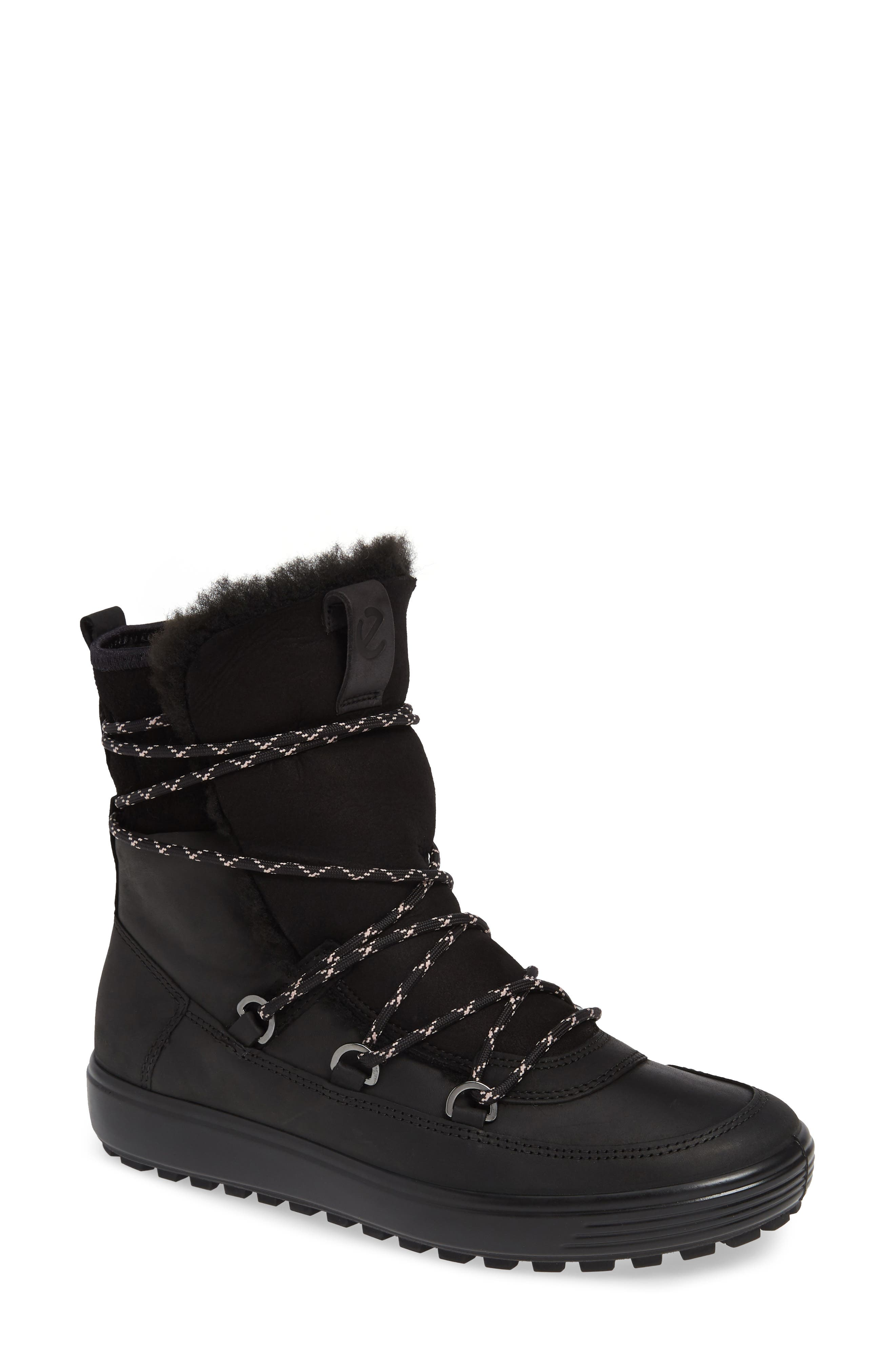 Ecco Soft 7 Tred Waterproof Genuine Shearling Lined Bootie, Black