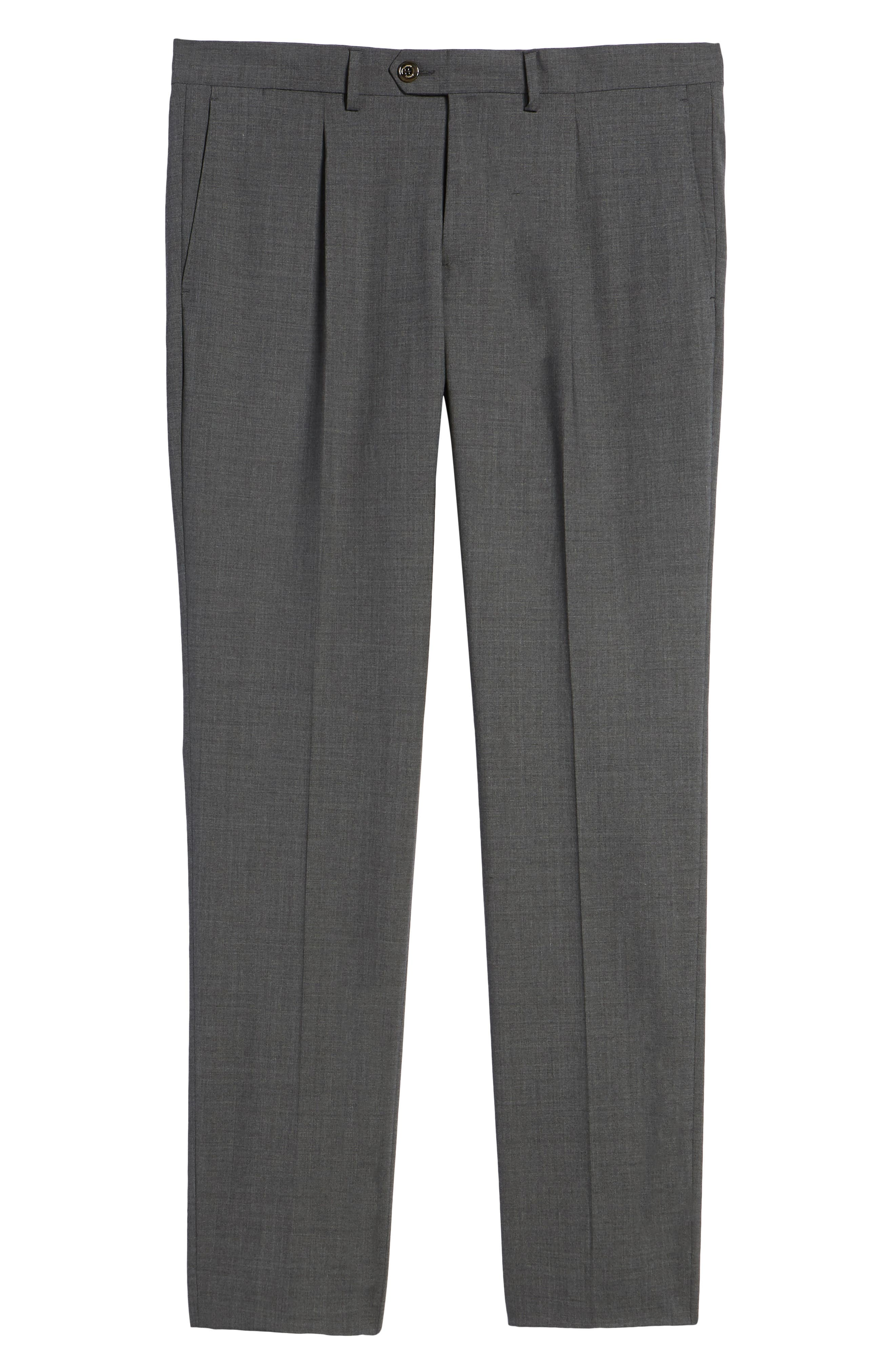 Pleat Front Stretch Solid Wool Trousers,                             Alternate thumbnail 6, color,                             024