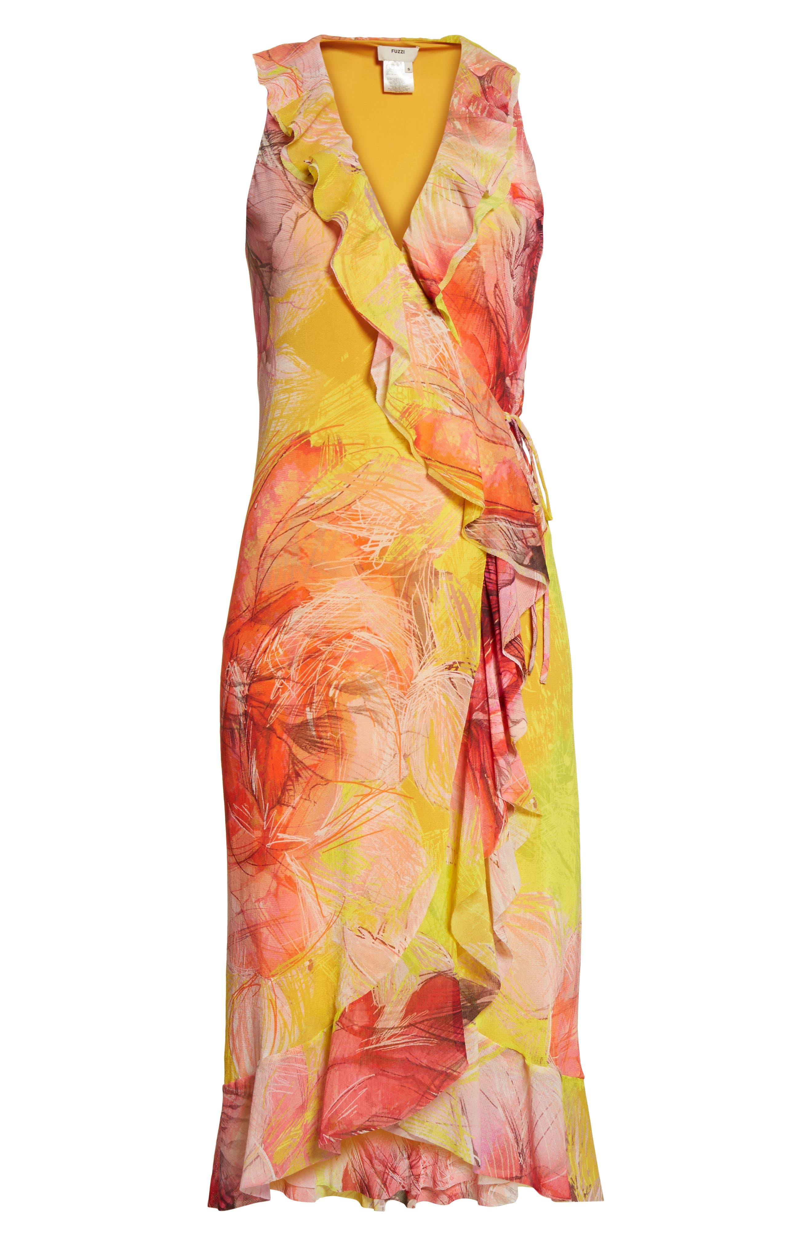 Print Tulle Ruffle Wrap Dress,                             Alternate thumbnail 6, color,                             723