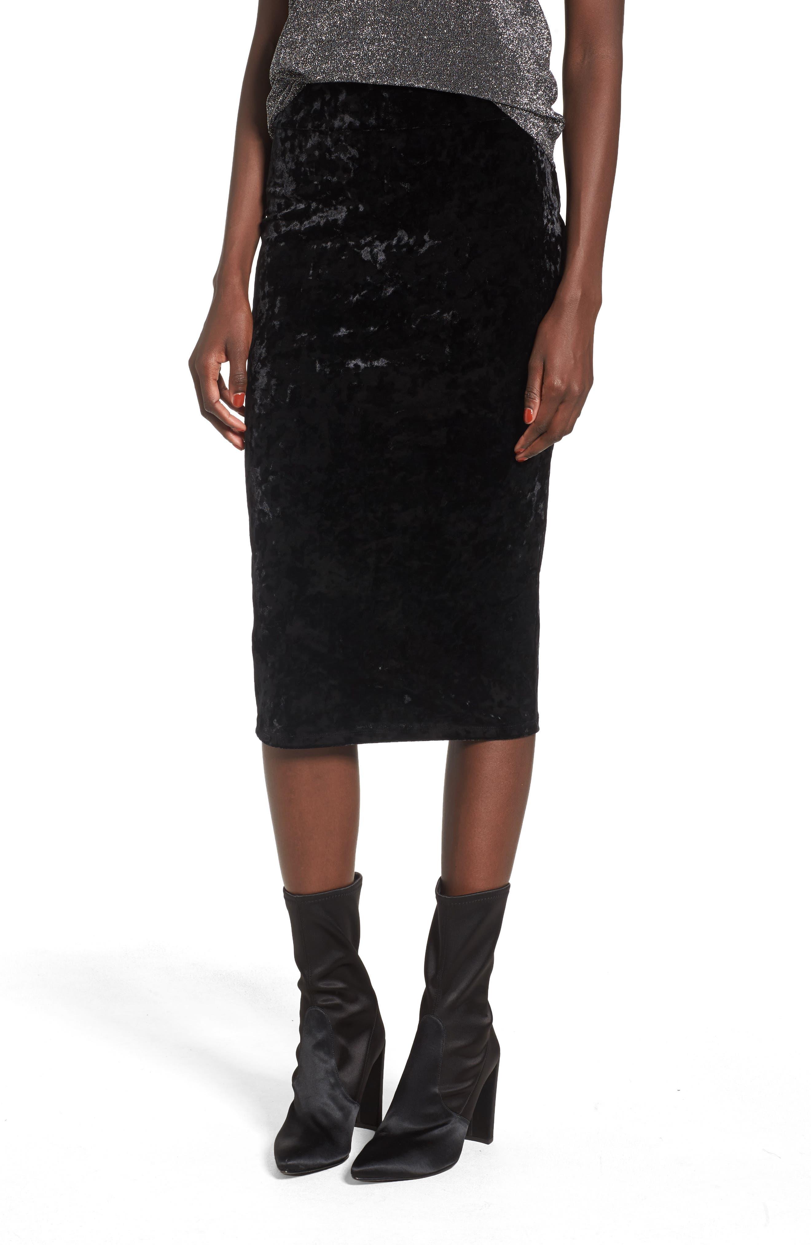 Leigh High Waist Velour Pencil Skirt,                             Main thumbnail 1, color,                             001