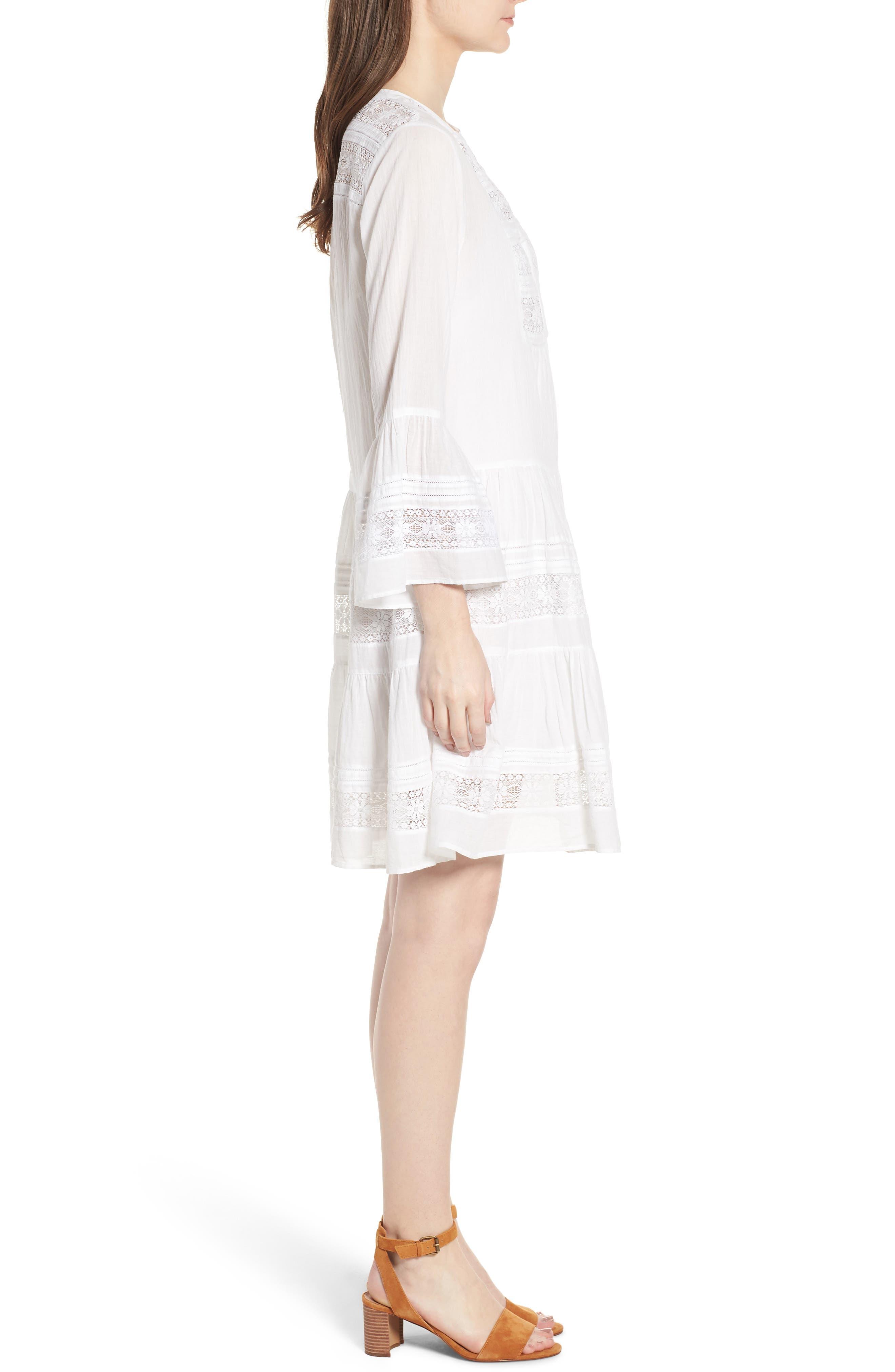 Lace Inset Cotton Gauze Dress,                             Alternate thumbnail 3, color,                             100