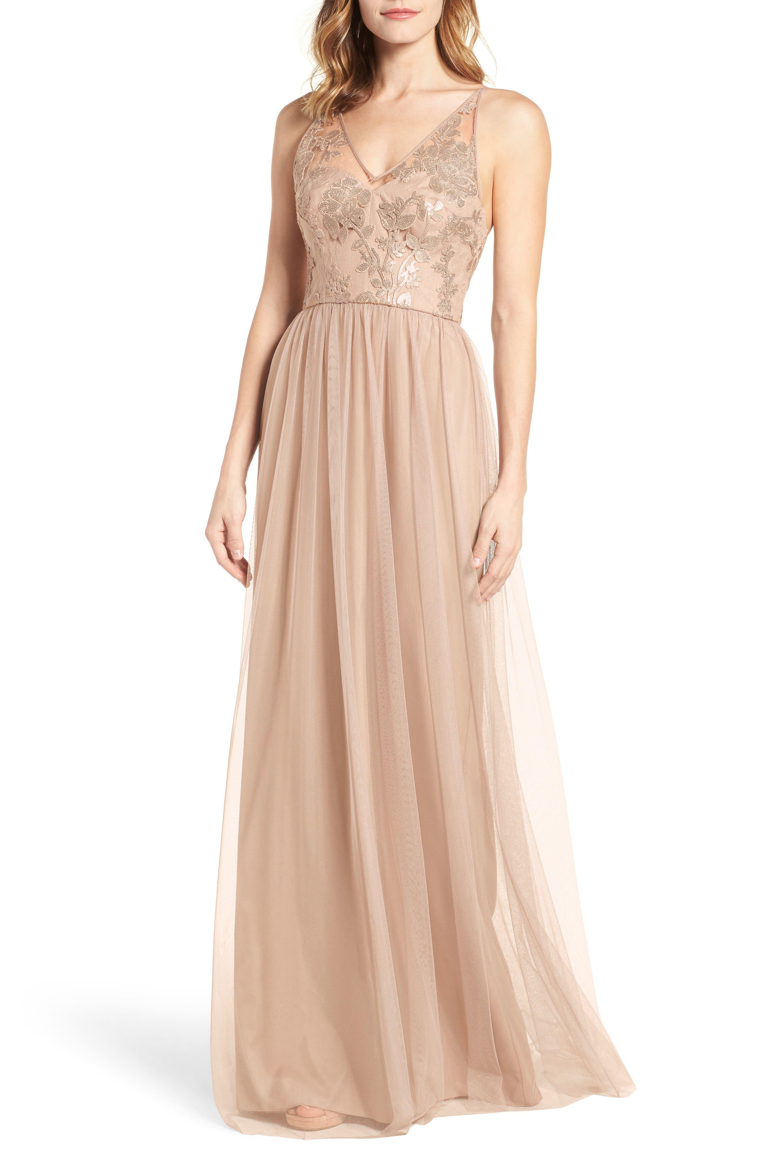 Sora Sequin & Lace Gown, Main, color, 232