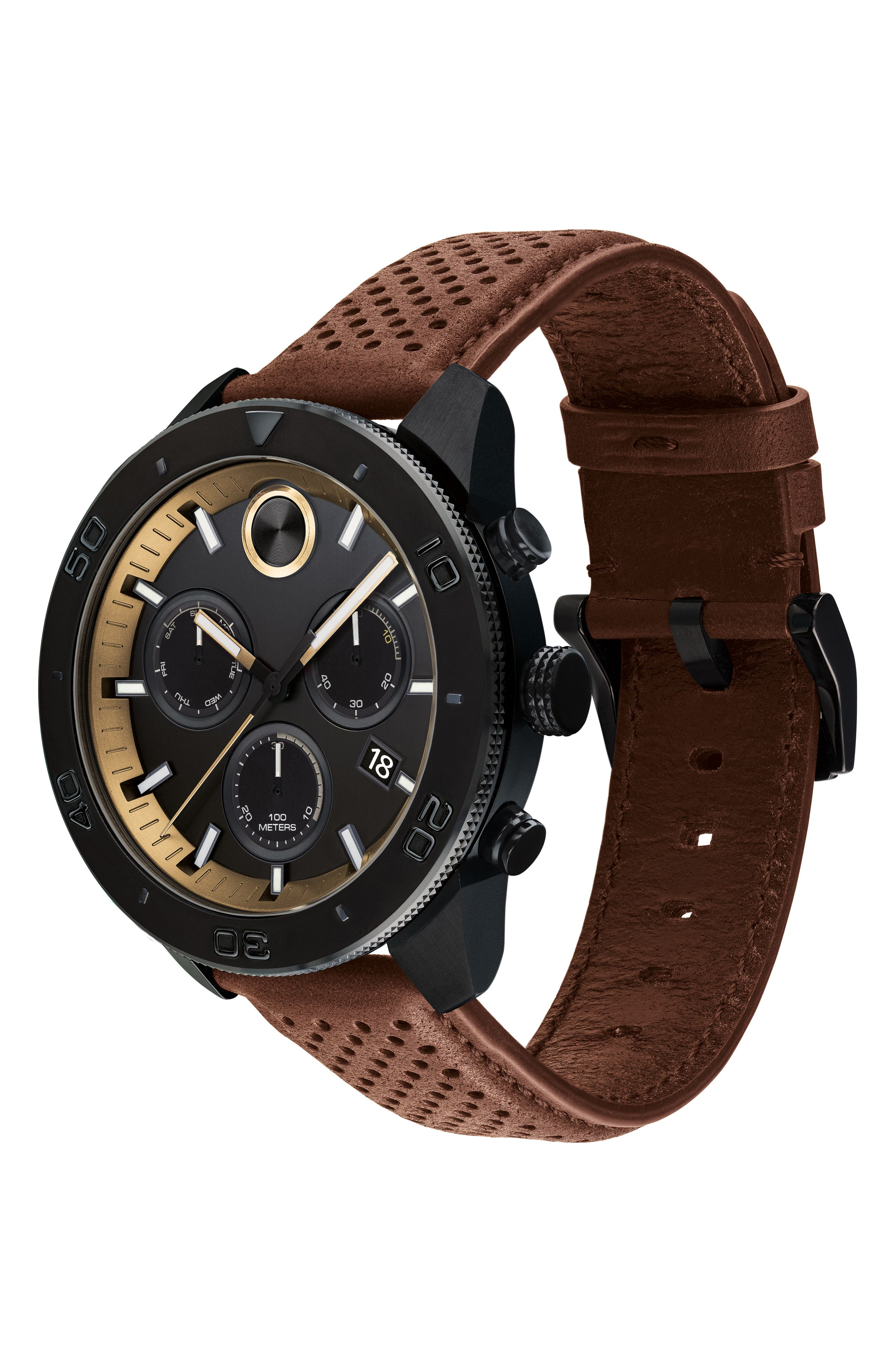 Bold Sport Chronograph Leather Strap Watch, 44mm,                             Alternate thumbnail 3, color,                             COGNAC/ BLACK