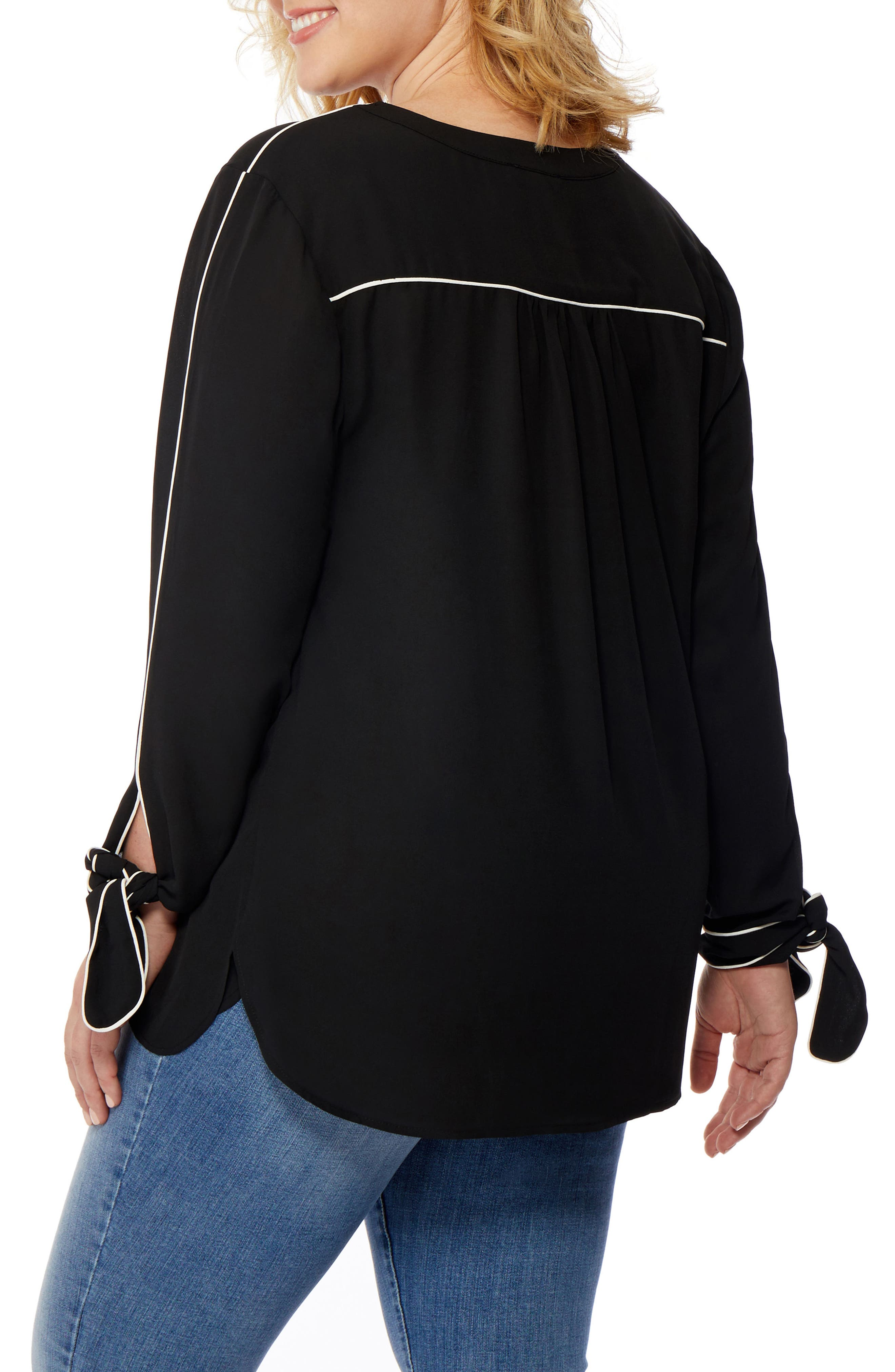 Rebel Wilson Tie Cuff Piped Blouse,                             Alternate thumbnail 2, color,                             001