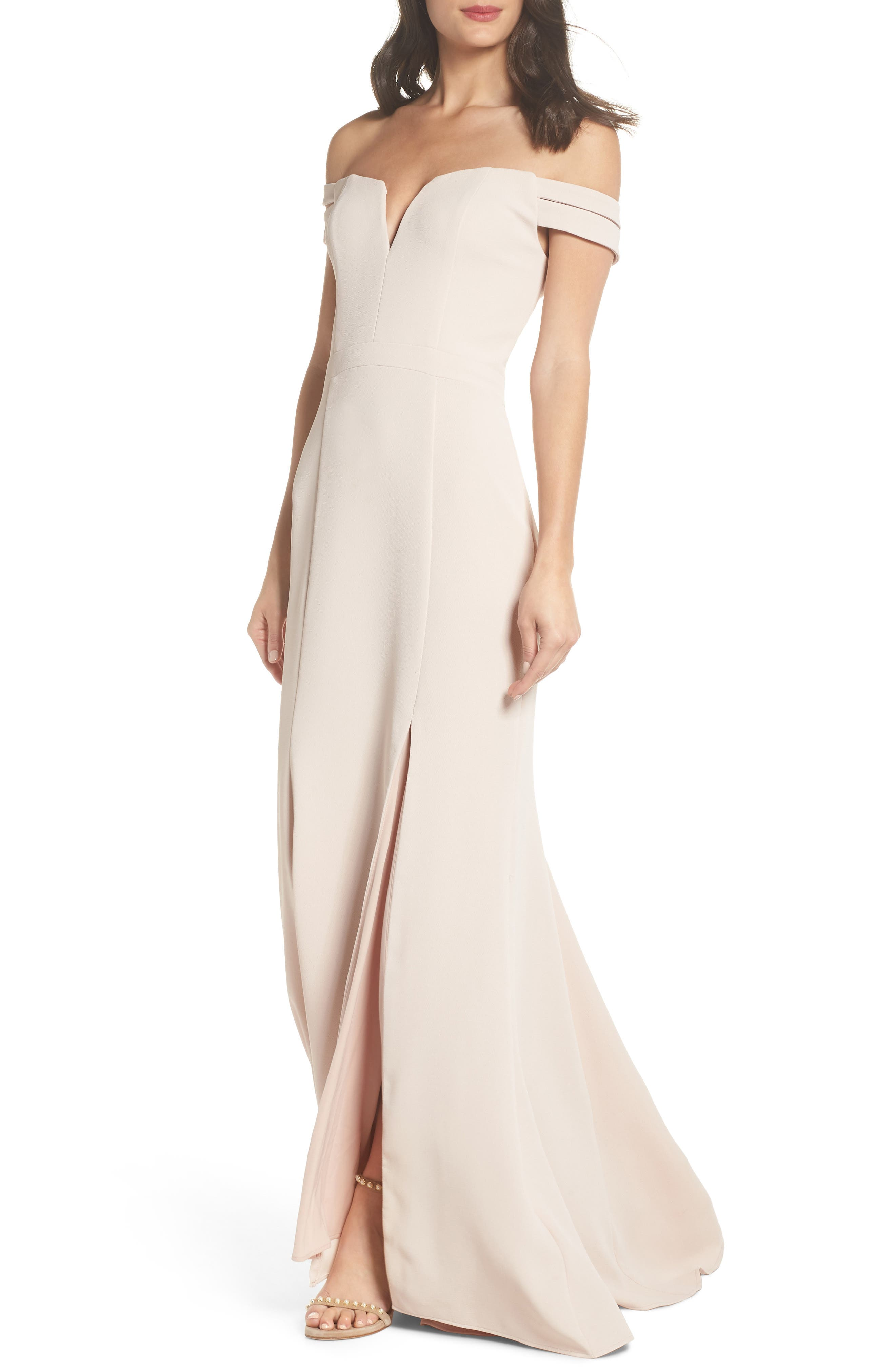 Off the Shoulder Trumpet Gown,                         Main,                         color, 680