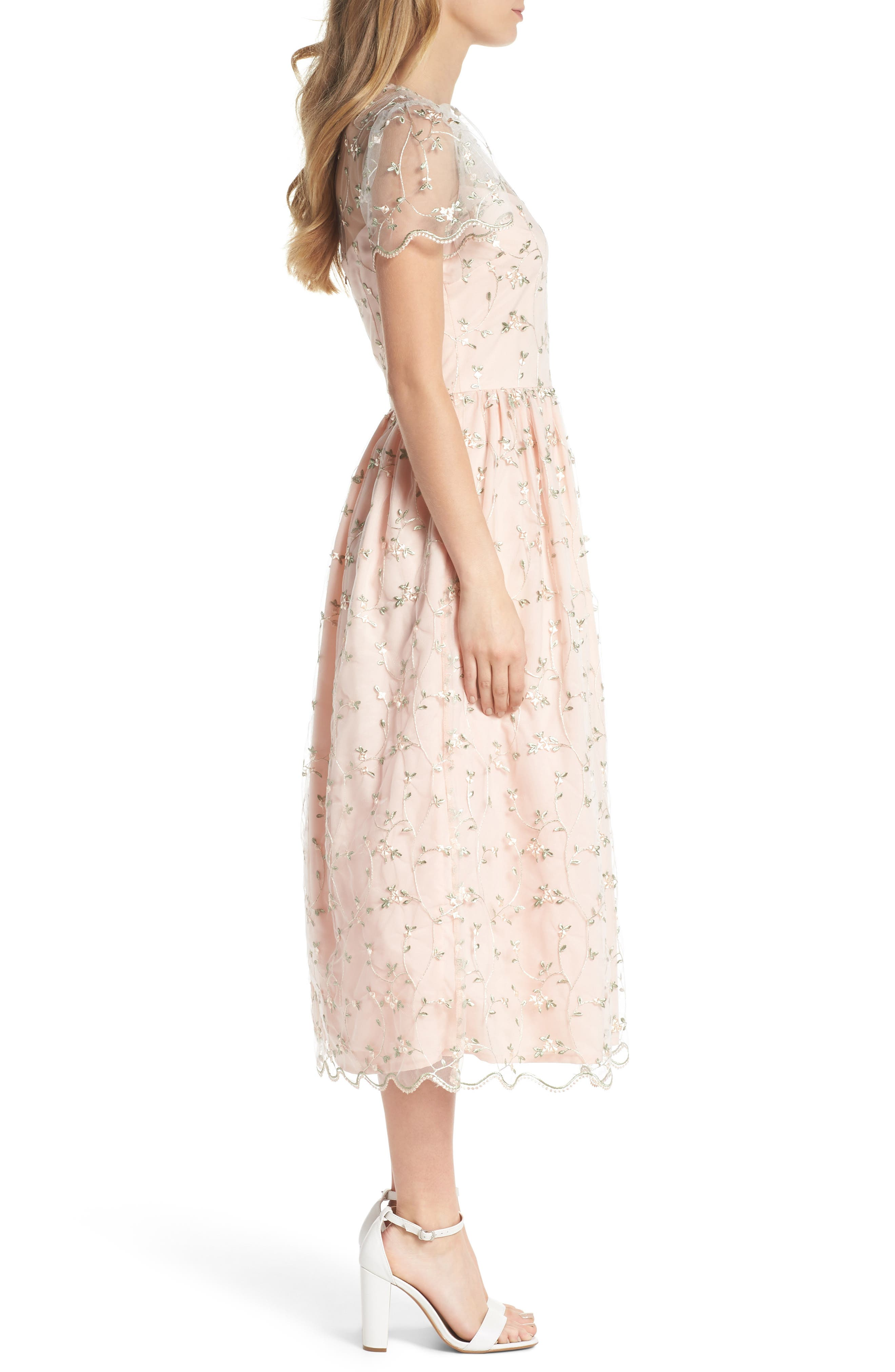 Penelope Baby Bud Embroidered Fit & Flare Midi Dress,                             Alternate thumbnail 3, color,                             650