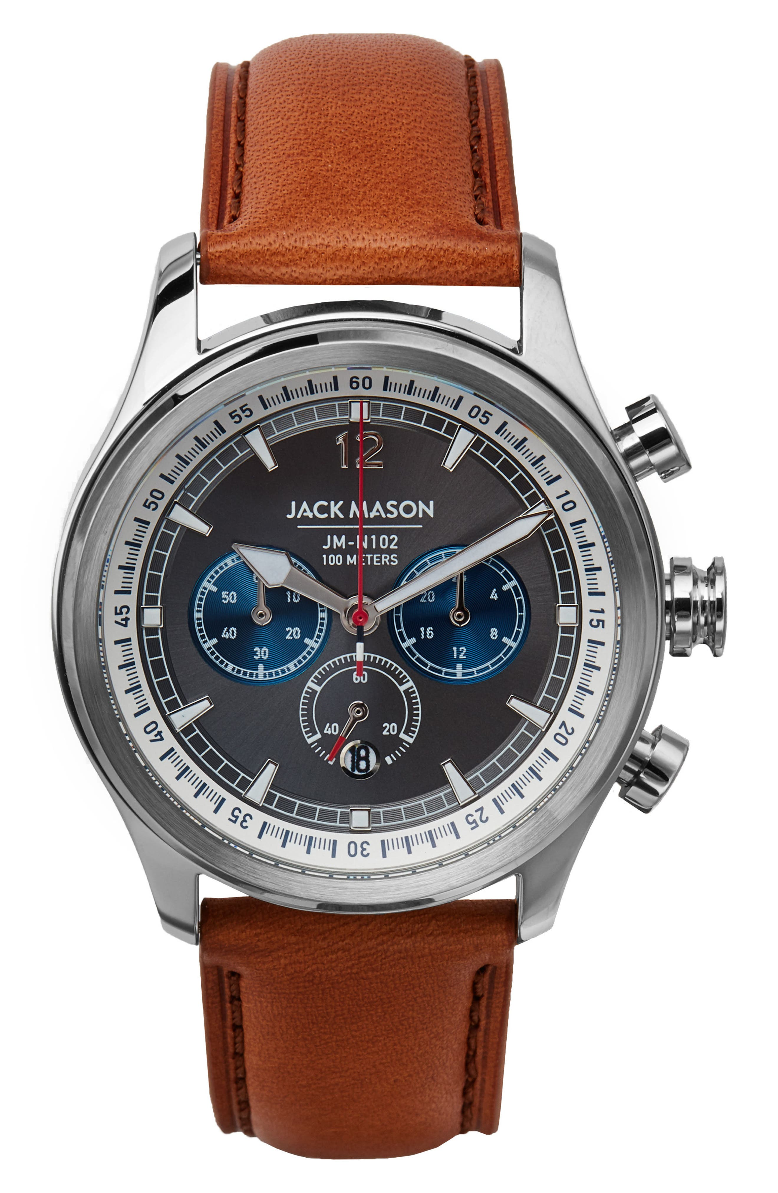 JACK MASON Nautical Chronograph Leather Strap Watch, 42mm, Main, color, 250