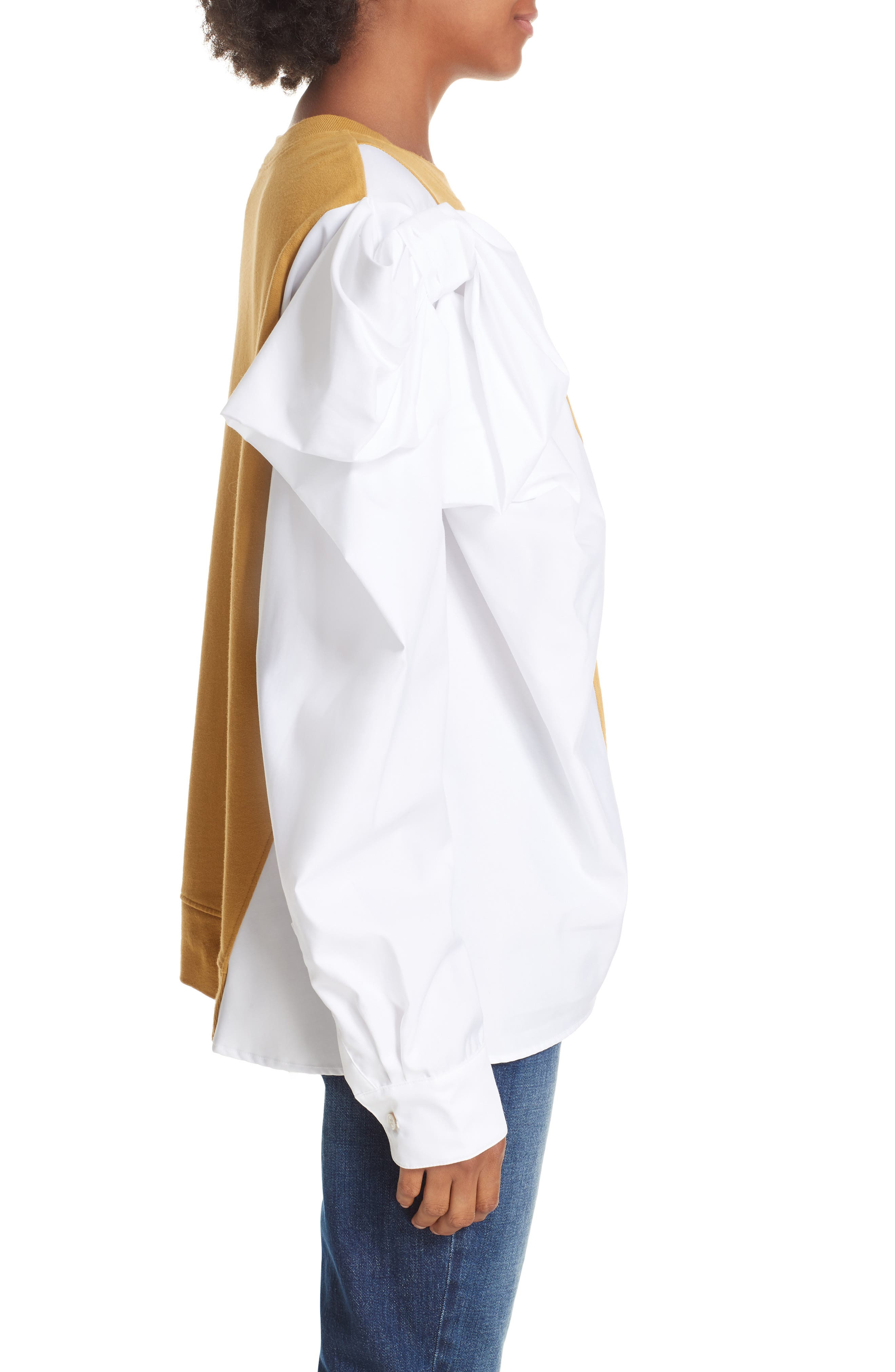 Bow Colorblock Sweatshirt,                             Alternate thumbnail 3, color,                             MUSTARD/ WHITE