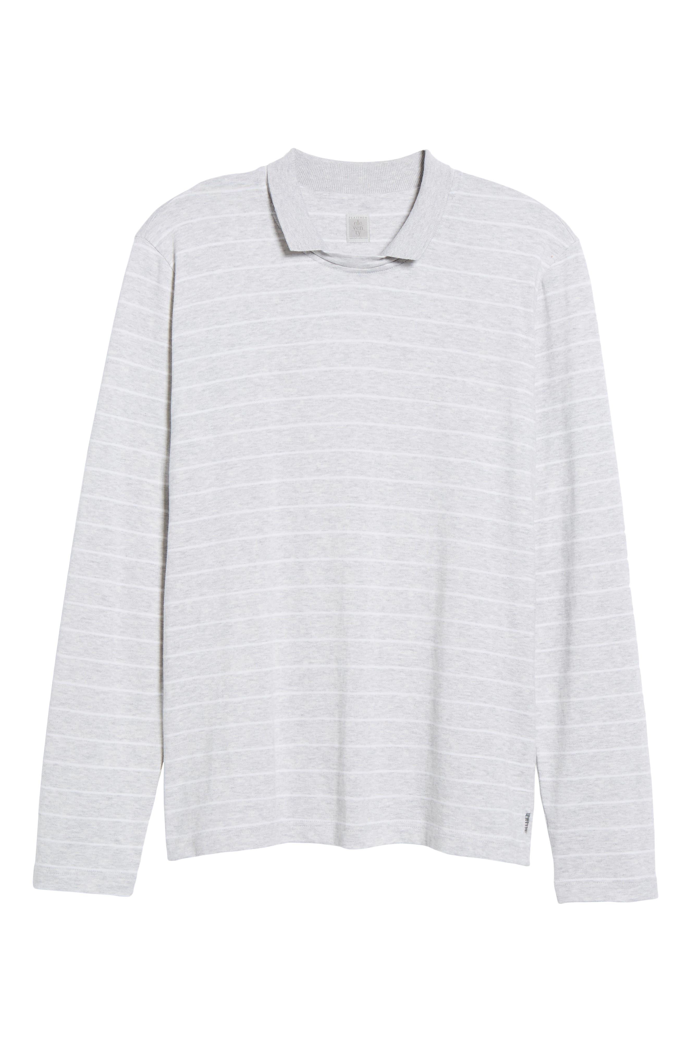 Stripe Crewneck Polo Shirt,                             Alternate thumbnail 6, color,                             020