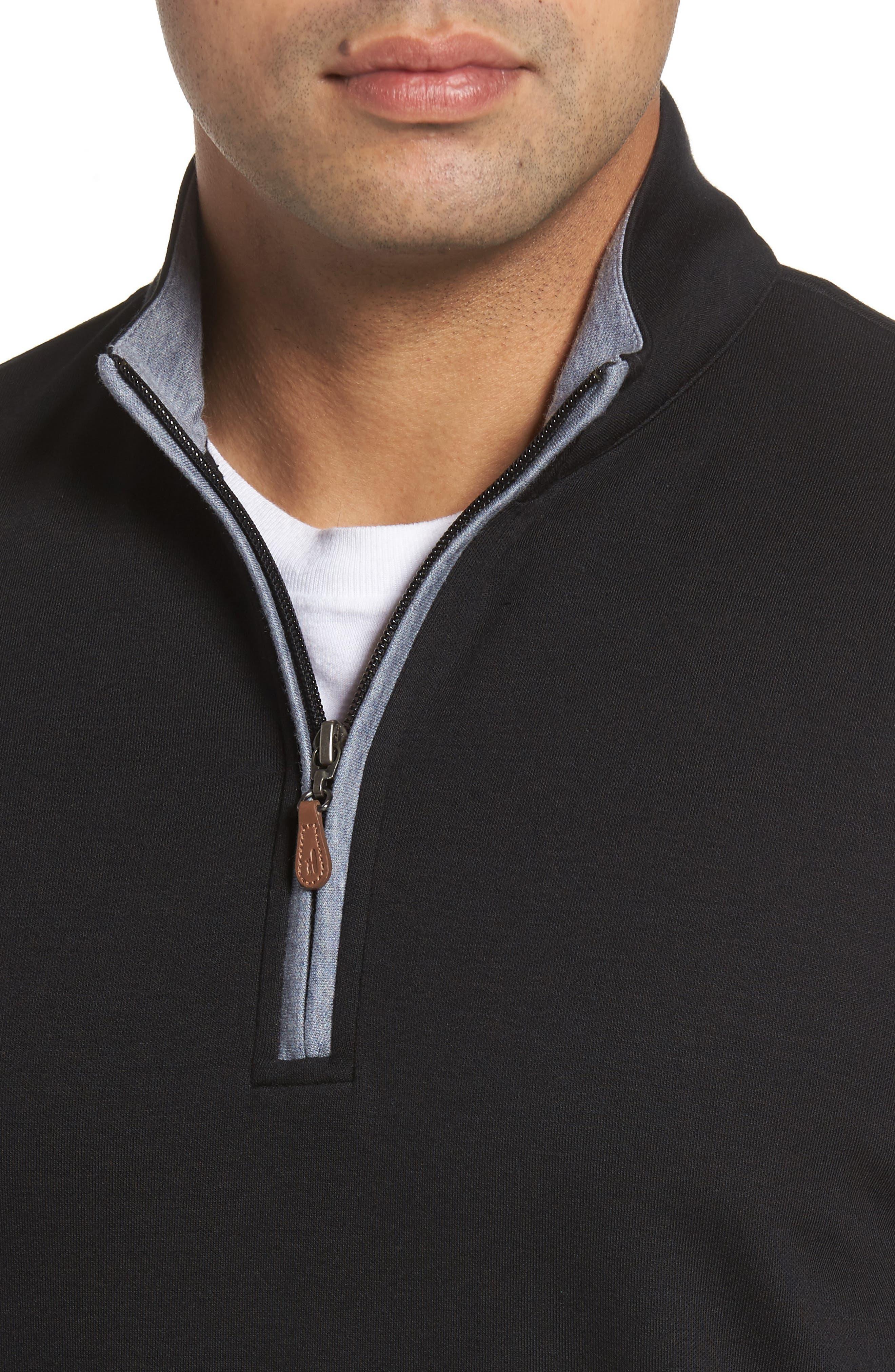 Sully Quarter Zip Pullover,                             Alternate thumbnail 4, color,                             BLACK