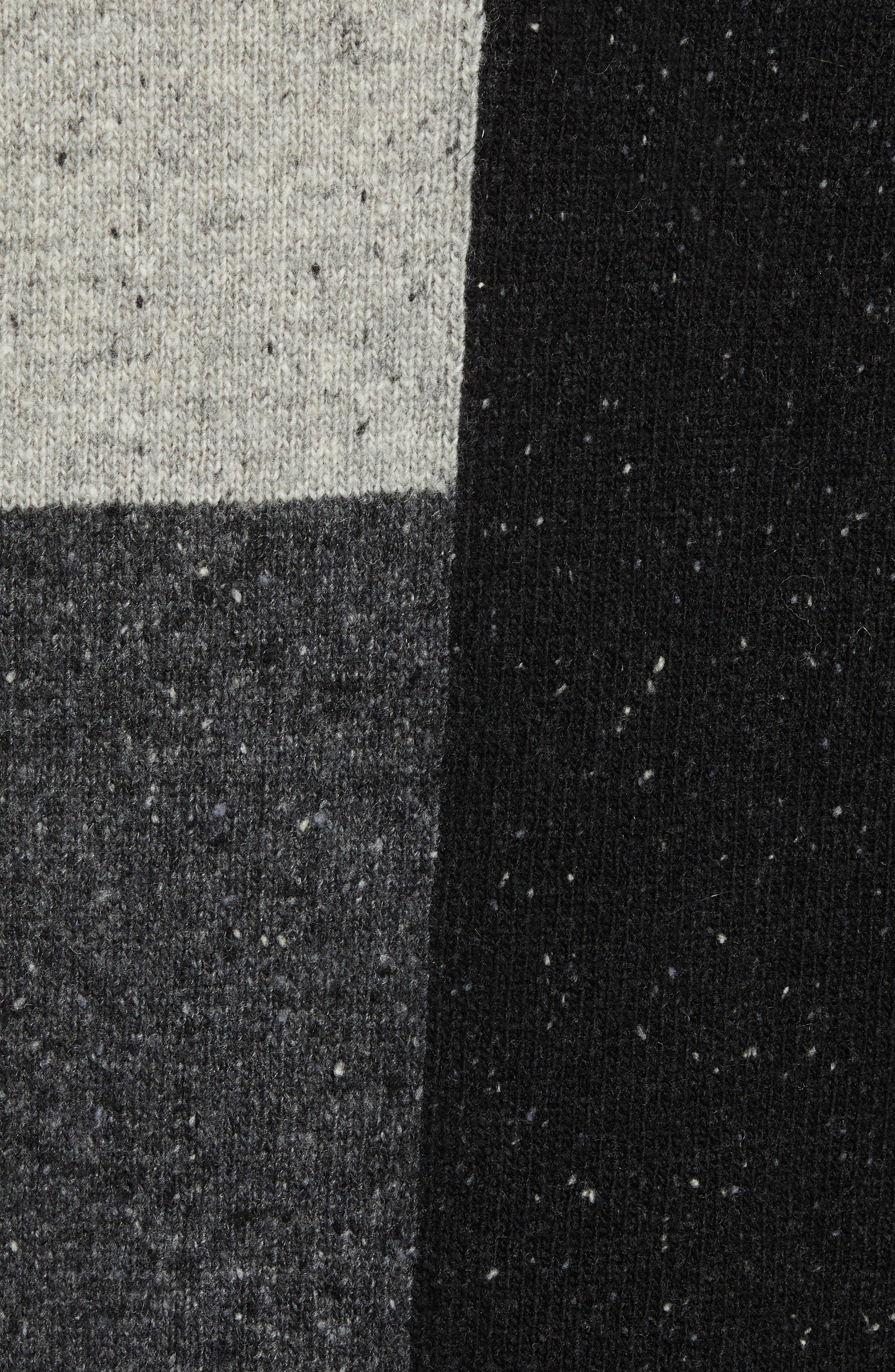 Patchwork Donegal Wool Blend Sweater,                             Alternate thumbnail 5, color,                             LIGHT GREY MELANGE CHARCOAL