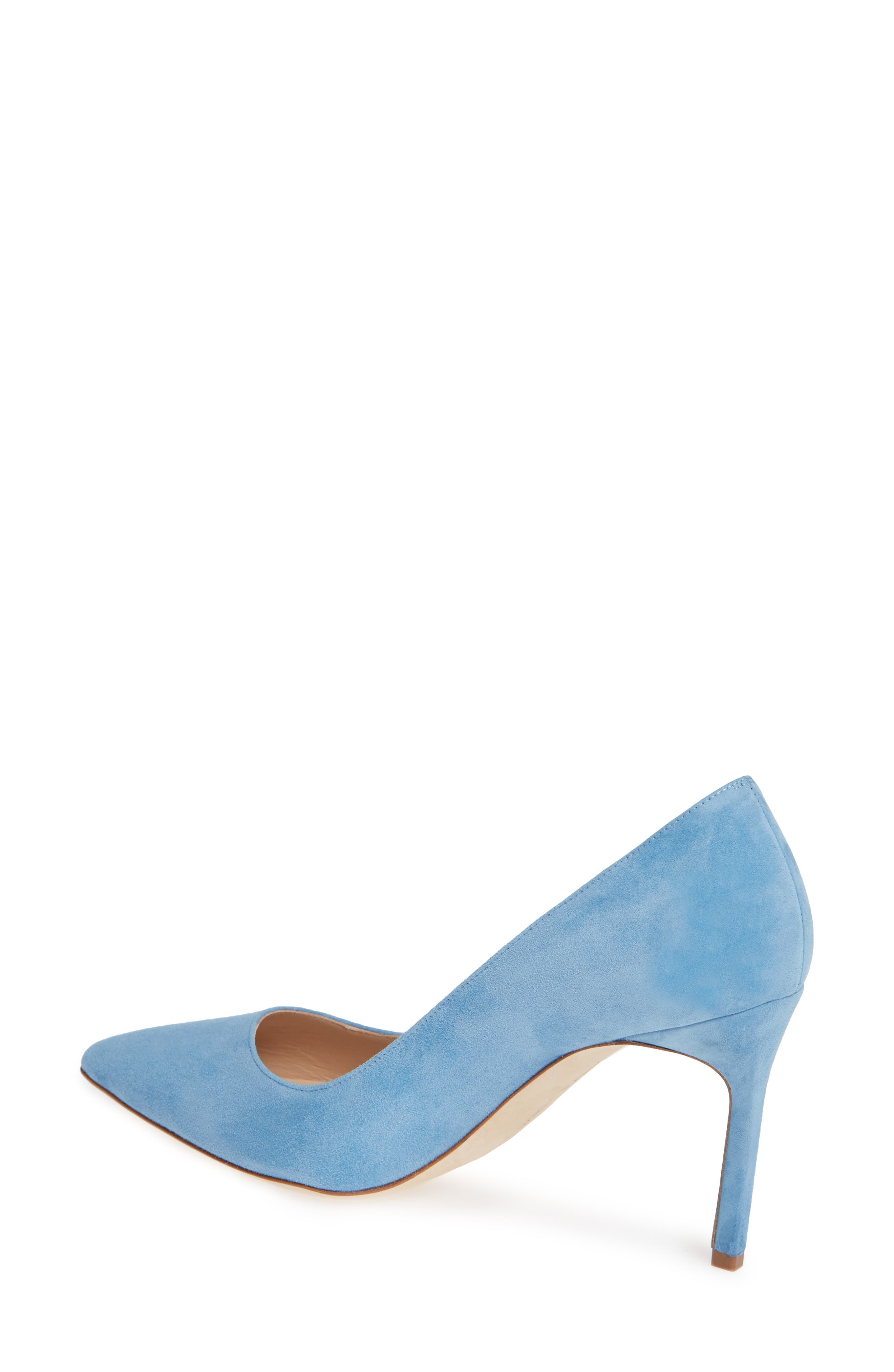 BB Pointy Toe Pump,                             Alternate thumbnail 2, color,                             POWDER BLUE SUEDE