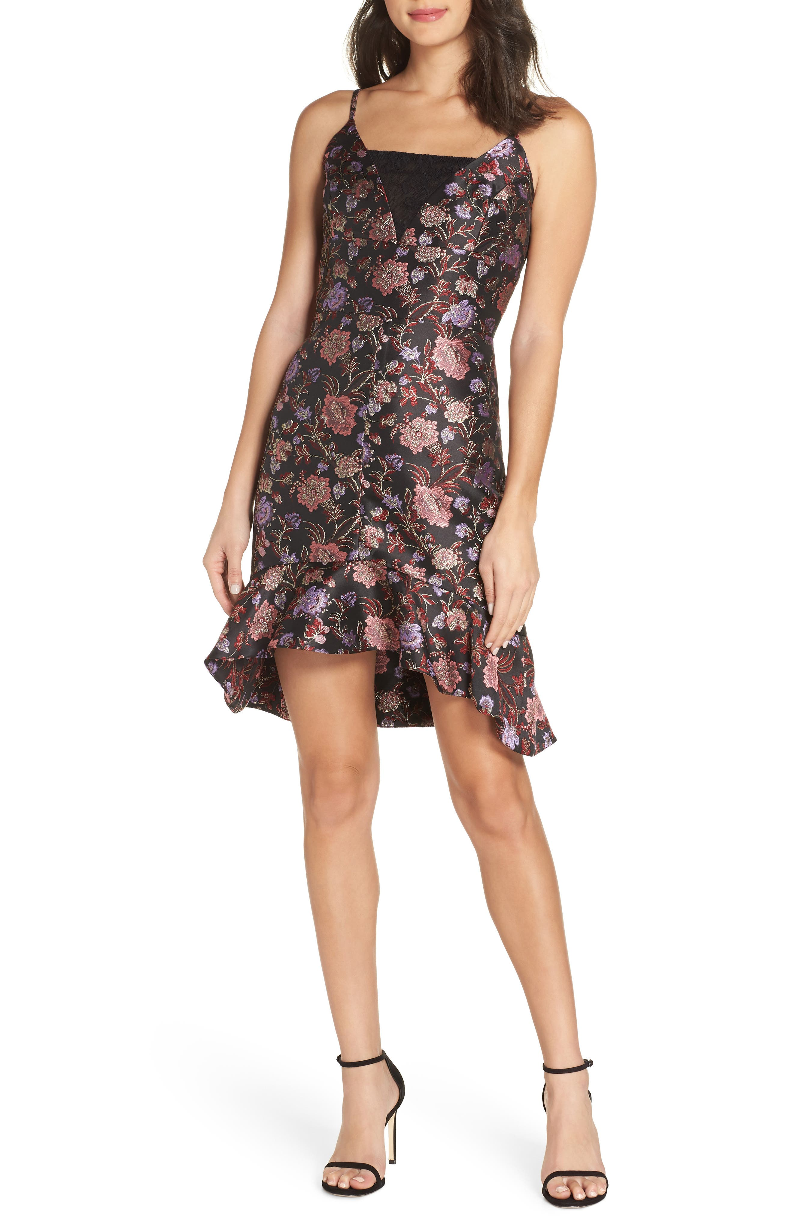 Metallic Jacquard Ruffle Hem Dress, Main, color, BLACK / PINK COMBO