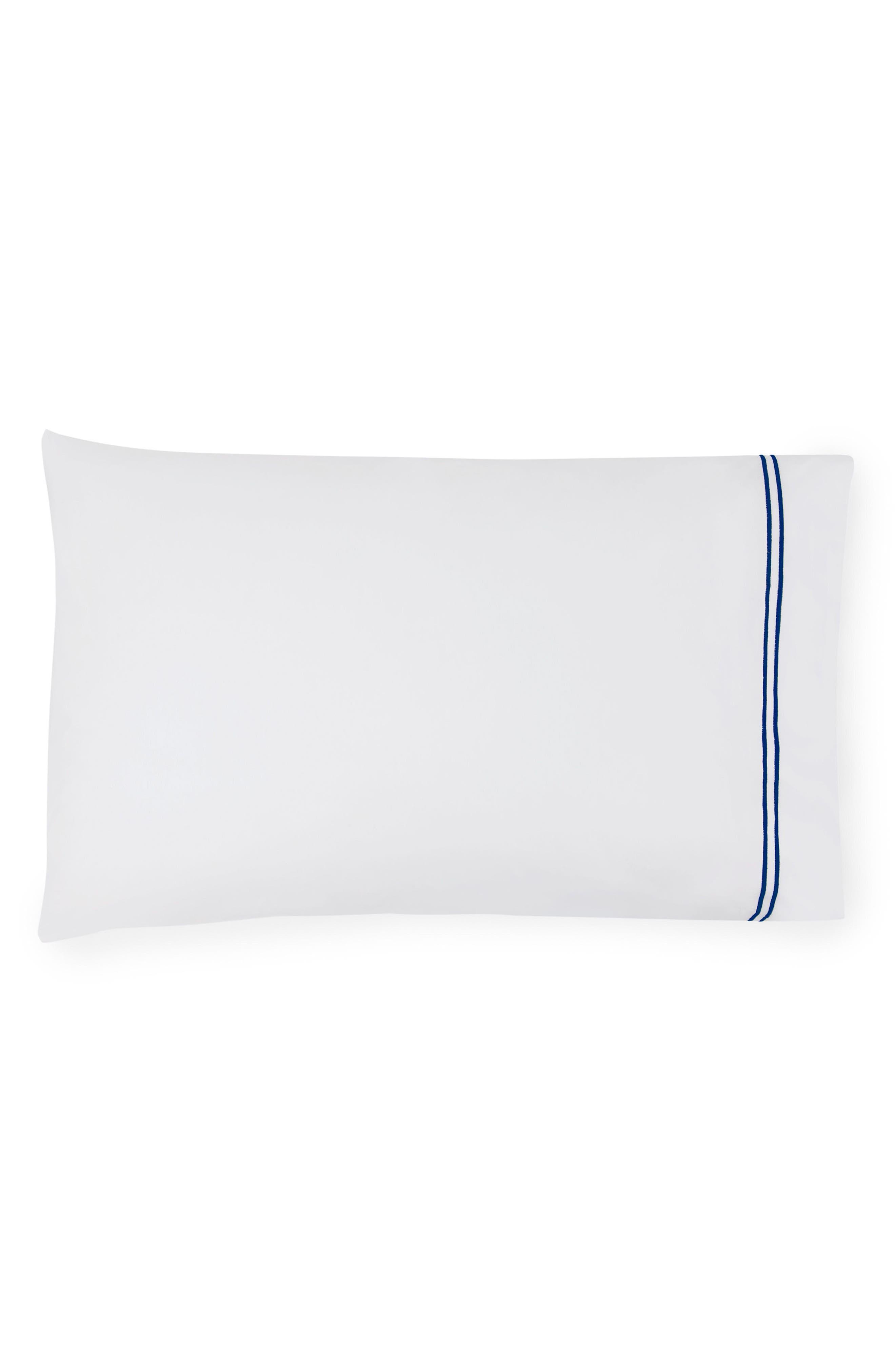Grande Hotel Pillowcase,                             Main thumbnail 1, color,                             WHITE/ NAVY