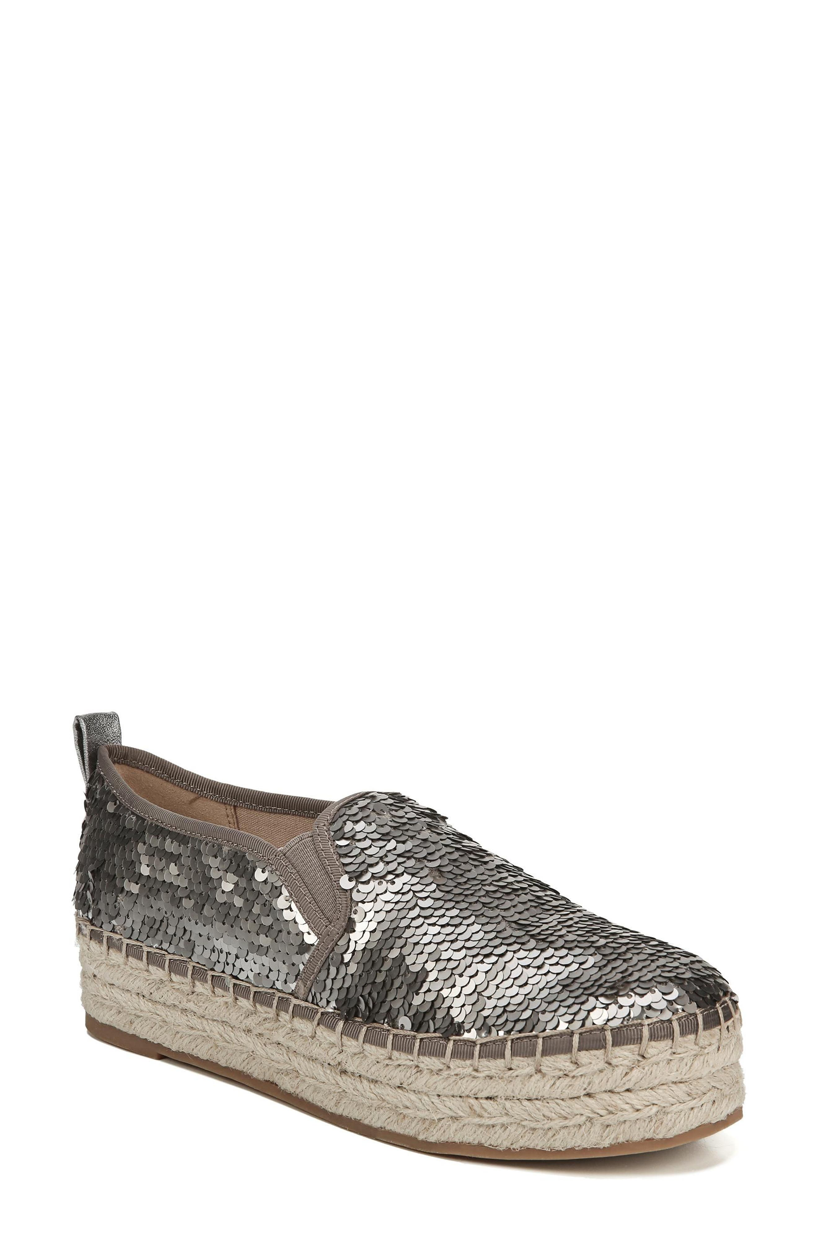 'Carrin' Espadrille Flat,                             Main thumbnail 1, color,                             PEWTER SEQUINS