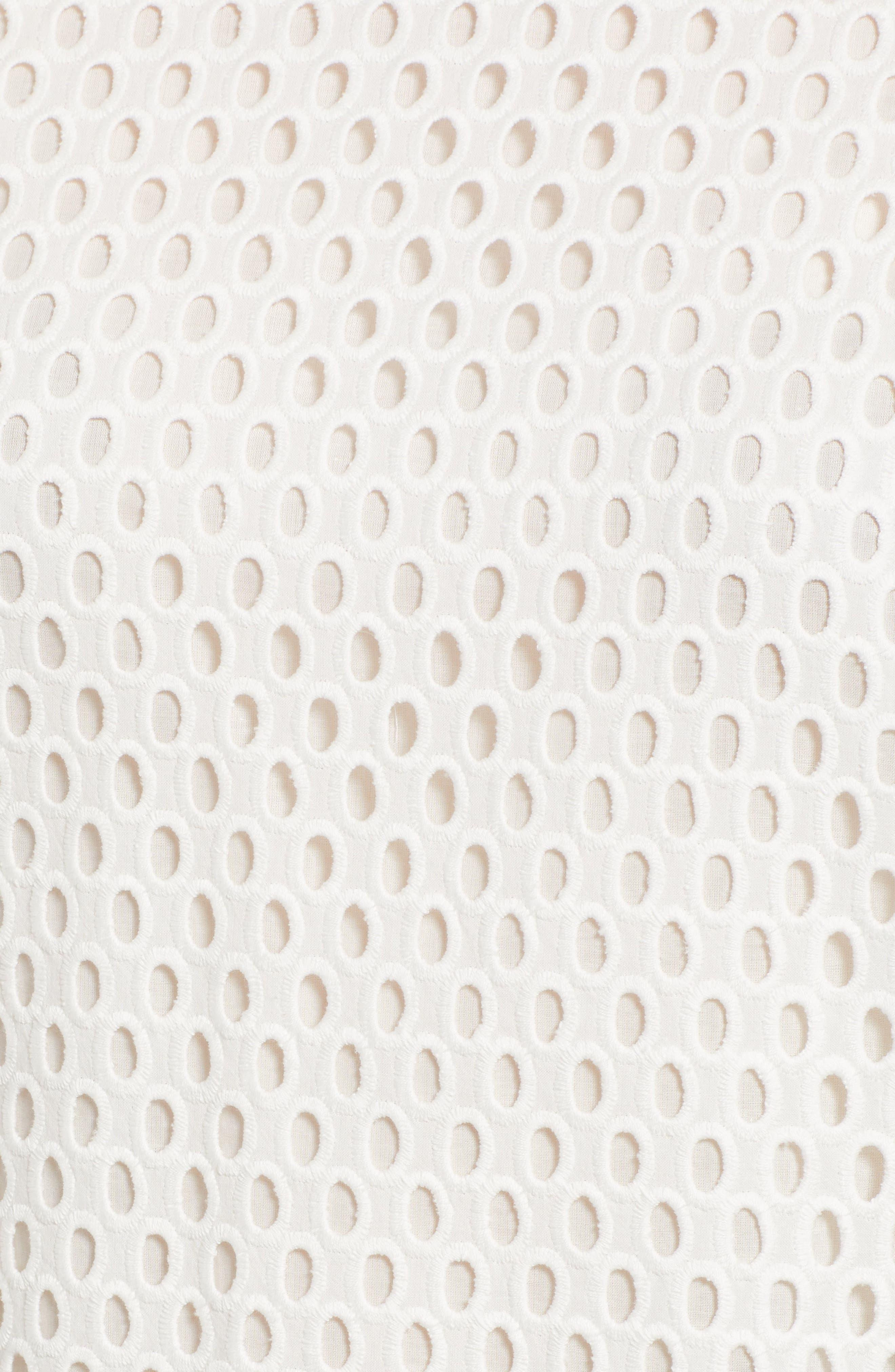 Ilofia Eyelet Overlay Cotton Blouse,                             Alternate thumbnail 5, color,                             VANILLA LIGHT