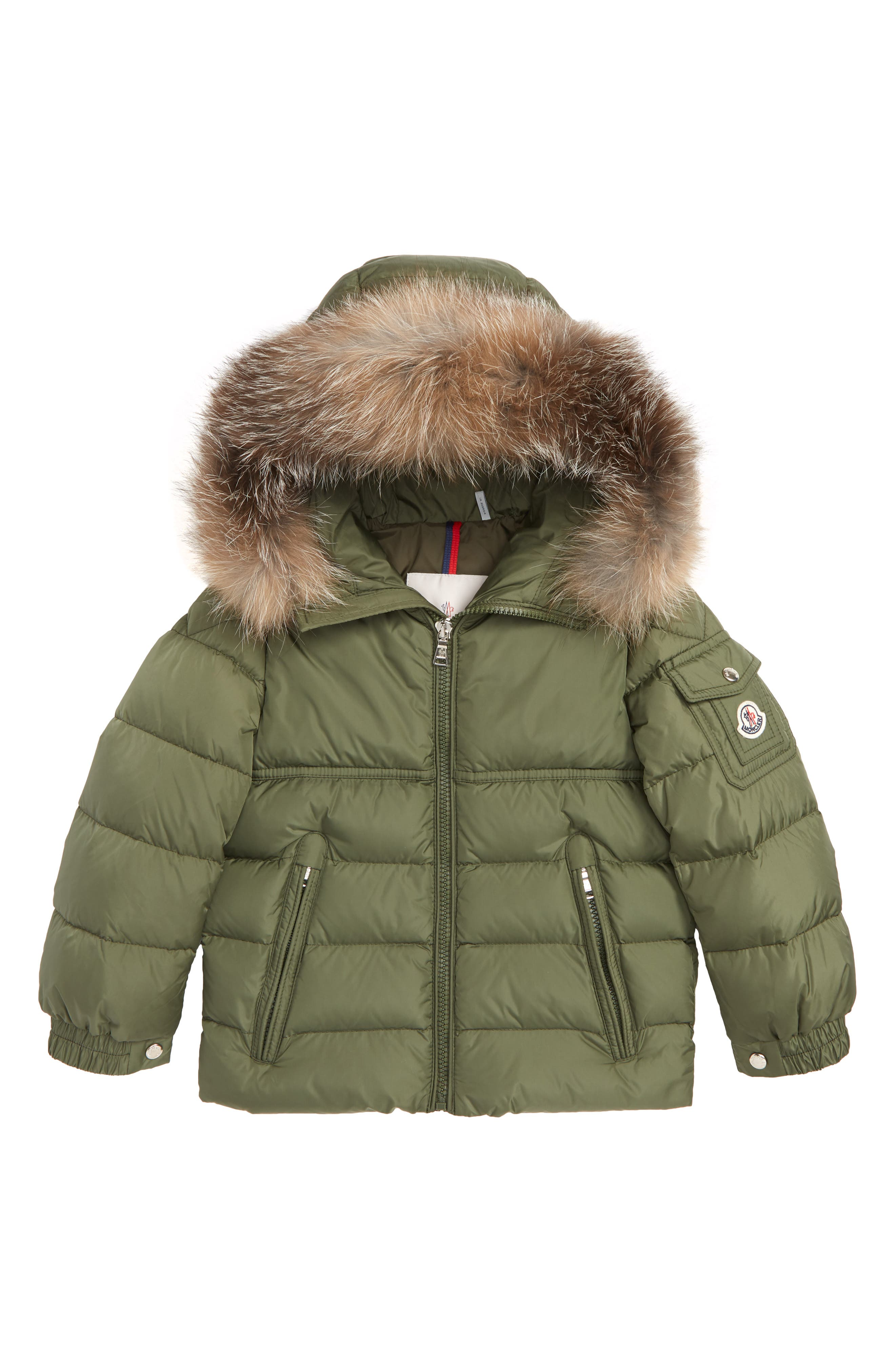 Byron Water Resistant Down Jacket with Genuine Fox Fur Trim,                         Main,                         color, ARMY GREEN