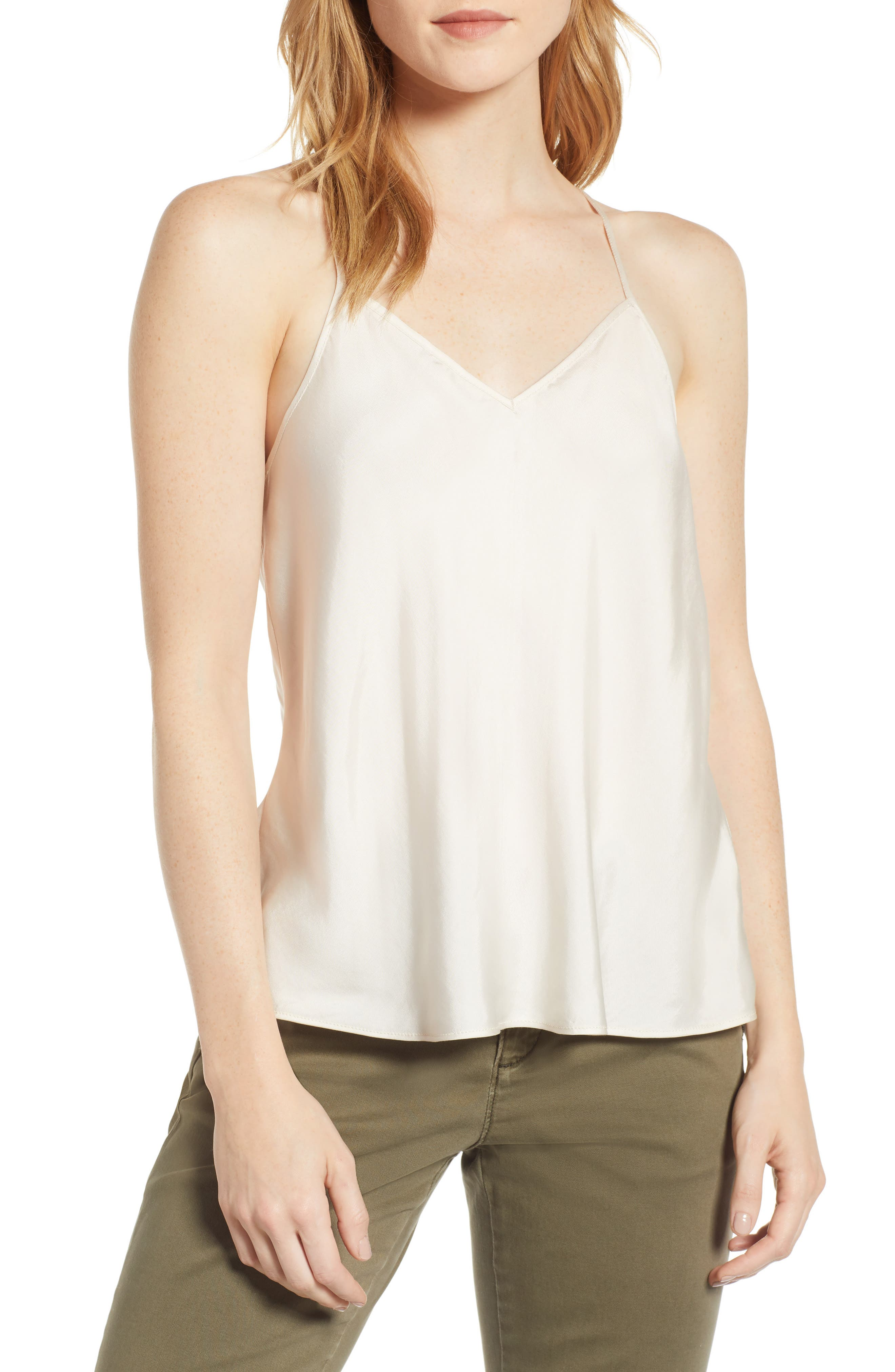 Lou & Grey Shimmer Twill Racerback Camisole Top, Beige
