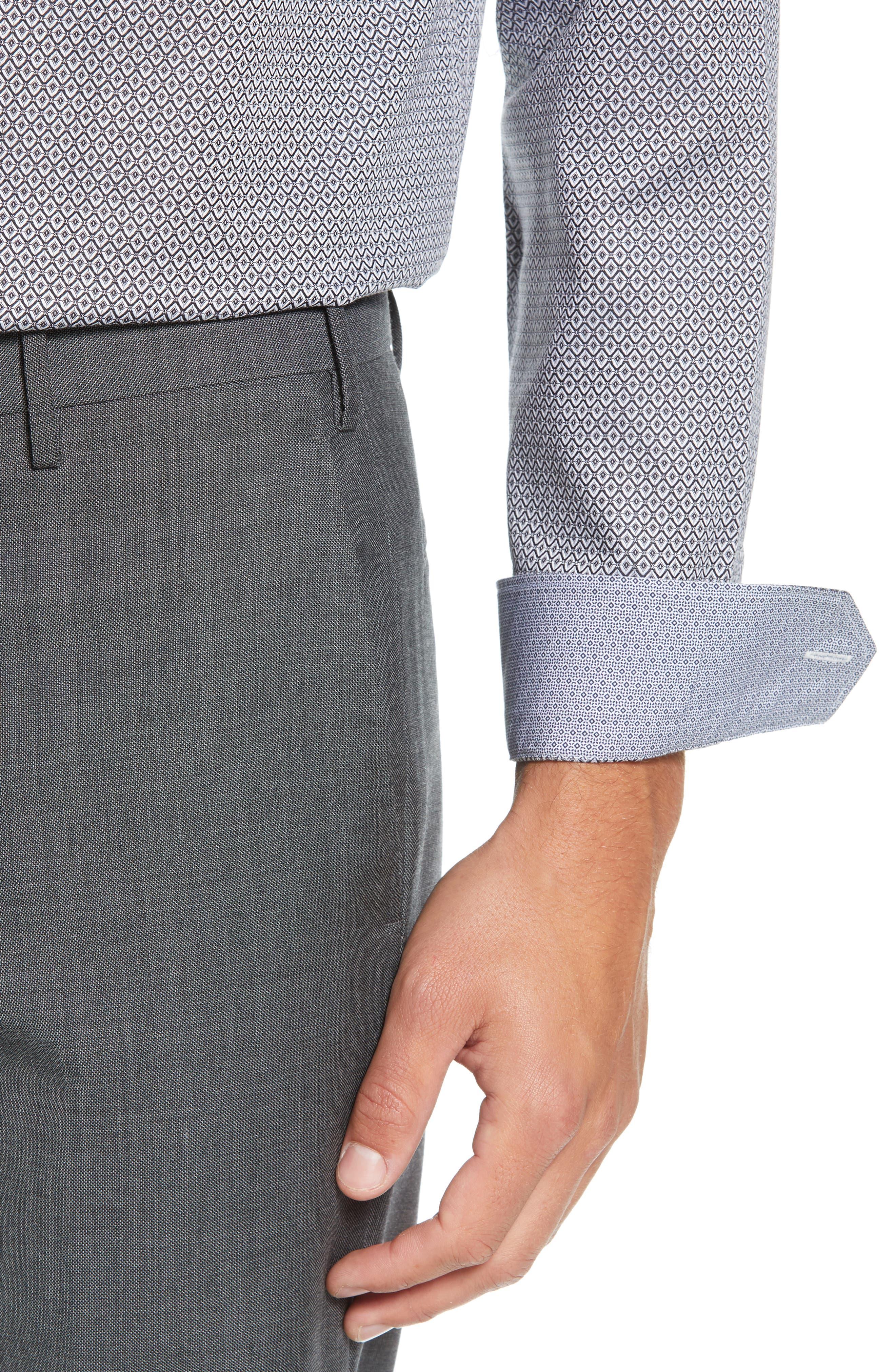 Brocco Modern Fit Geometric Dress Shirt,                             Alternate thumbnail 2, color,                             BLACK