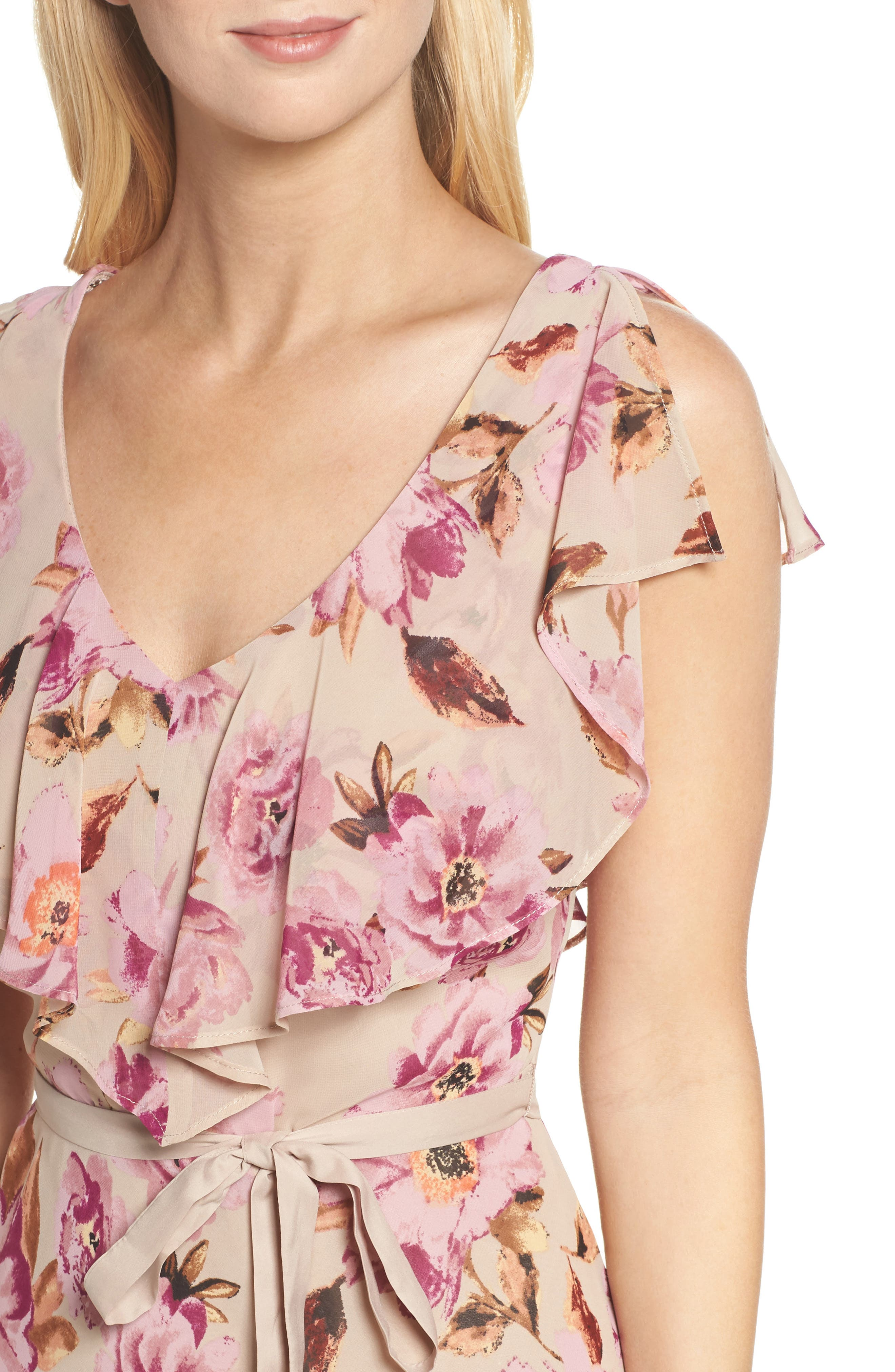 Chiffon Maxi Dress,                             Alternate thumbnail 4, color,                             653