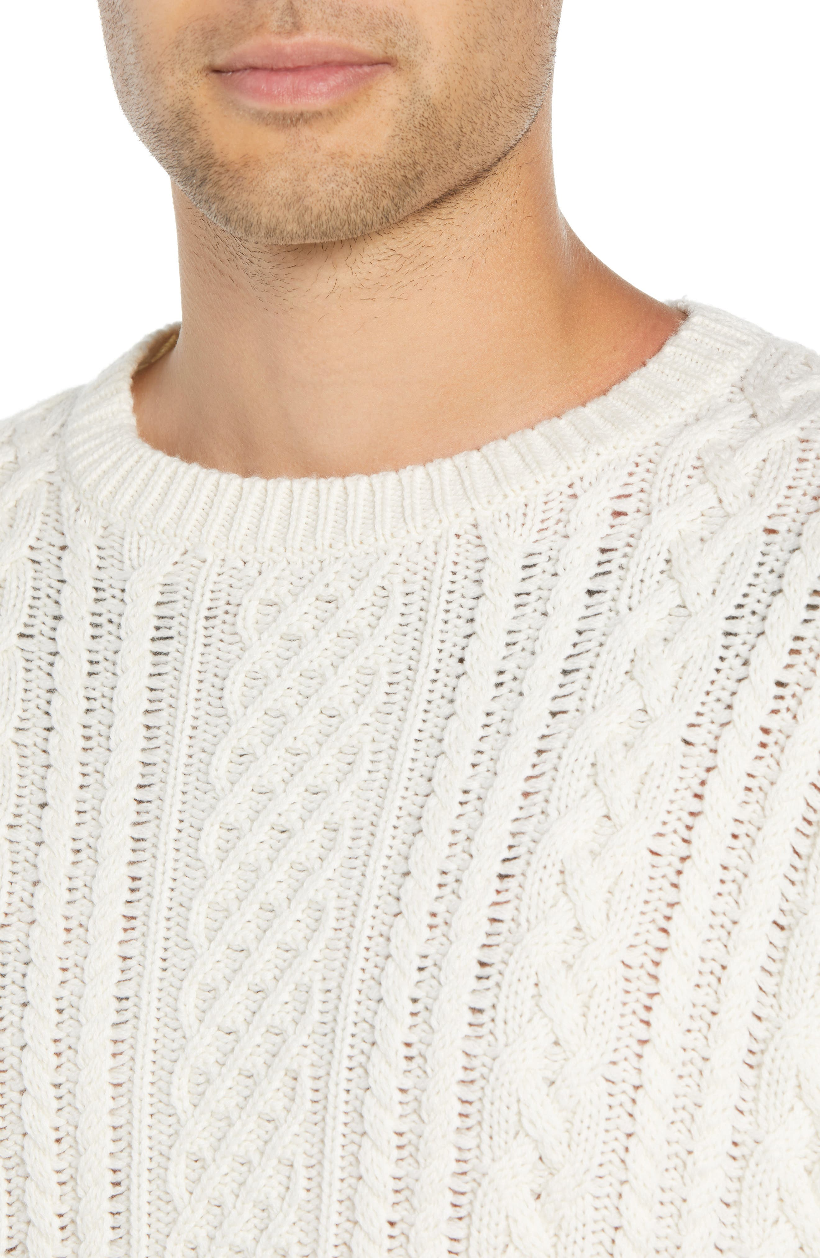 Oversize Distressed Wool Blend Sweater,                             Alternate thumbnail 4, color,                             BEIGE/ WHITE