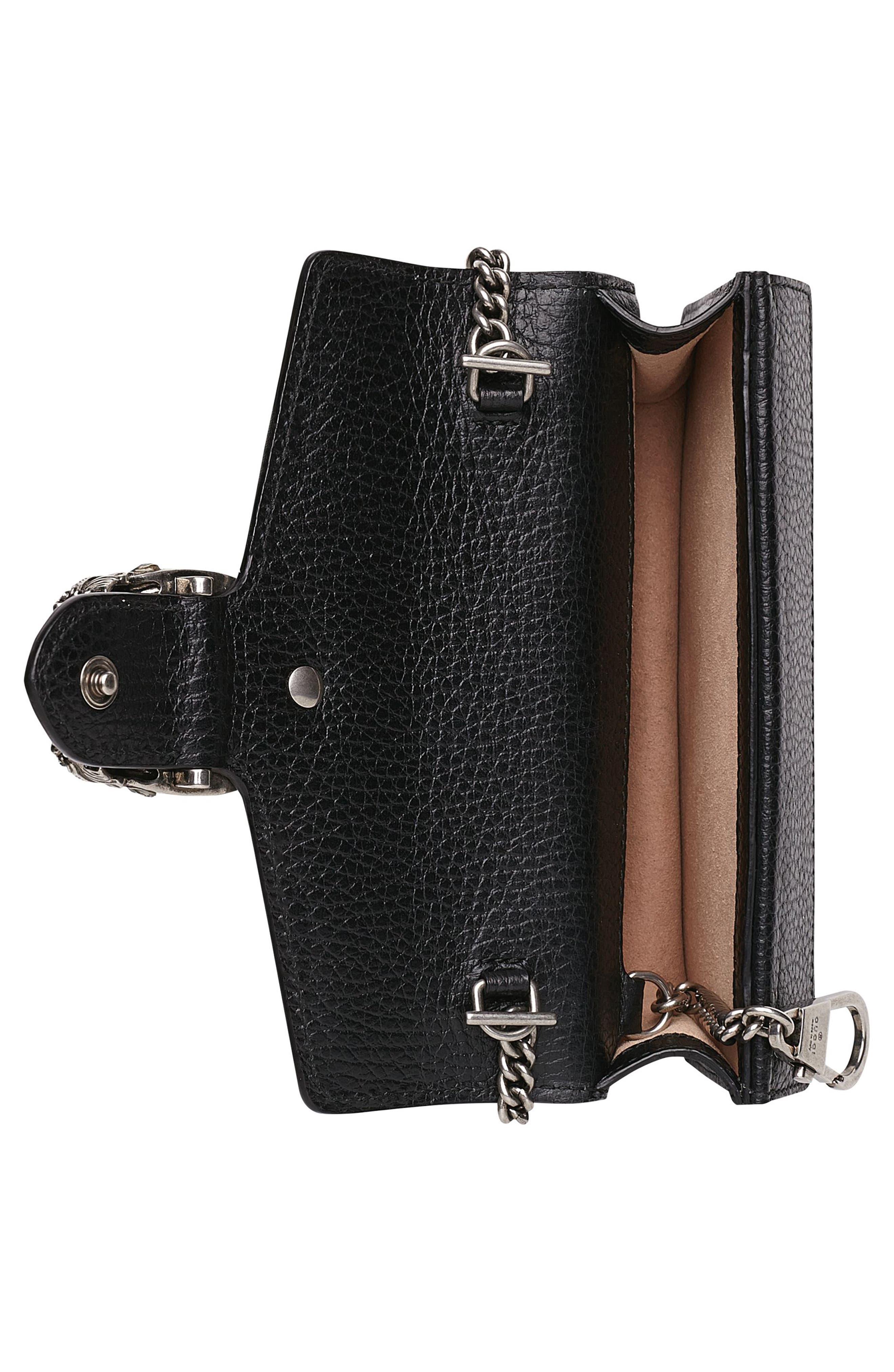 GUCCI,                             Super Mini Dionysus Leather Shoulder Bag,                             Alternate thumbnail 3, color,                             001