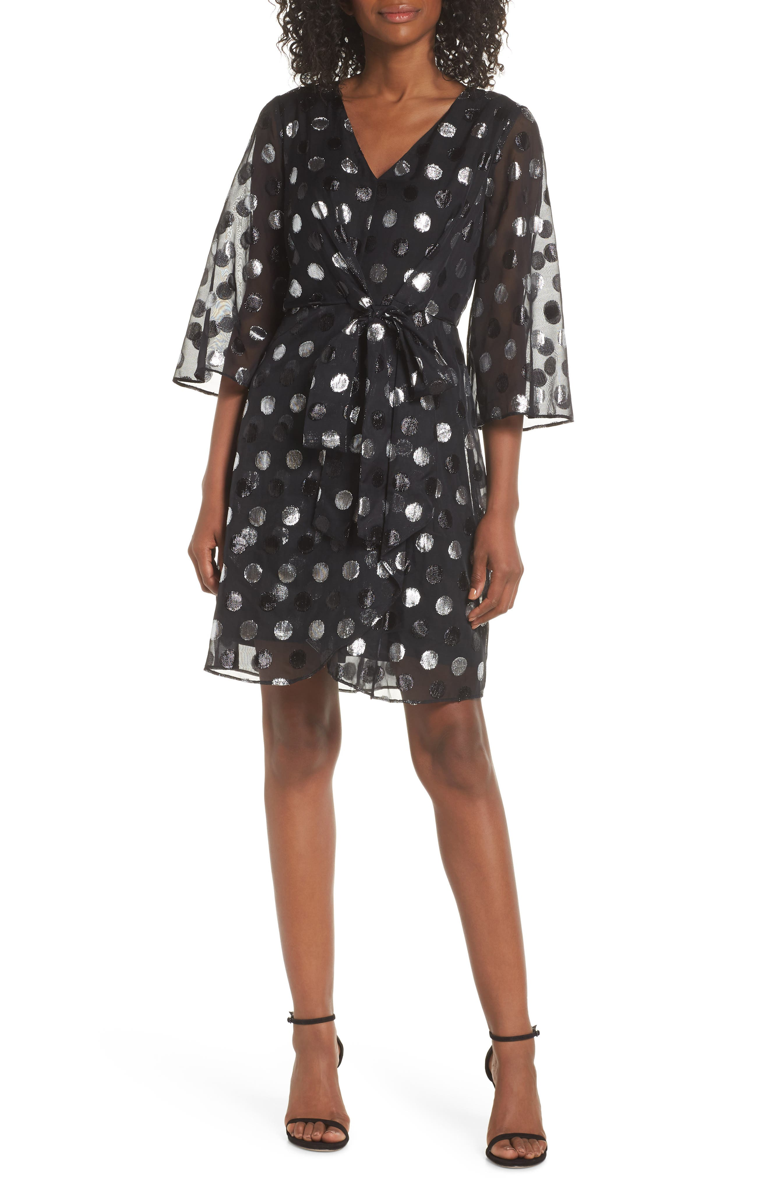 Julia Jordan Tie Front Clip Dot Chiffon Dress, Black