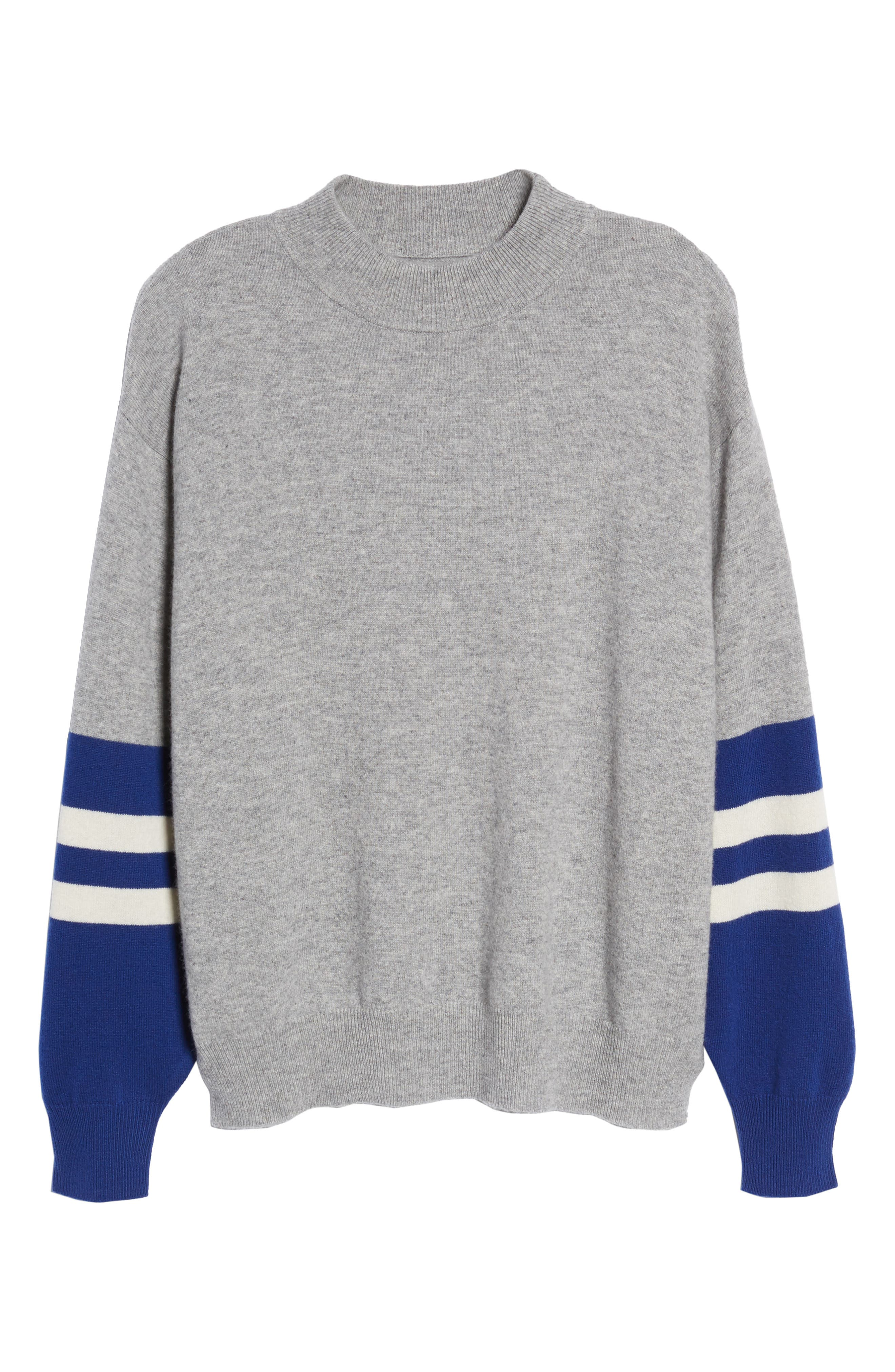 Colorblock Cashmere Sweater,                             Alternate thumbnail 6, color,                             HEATHER GREY