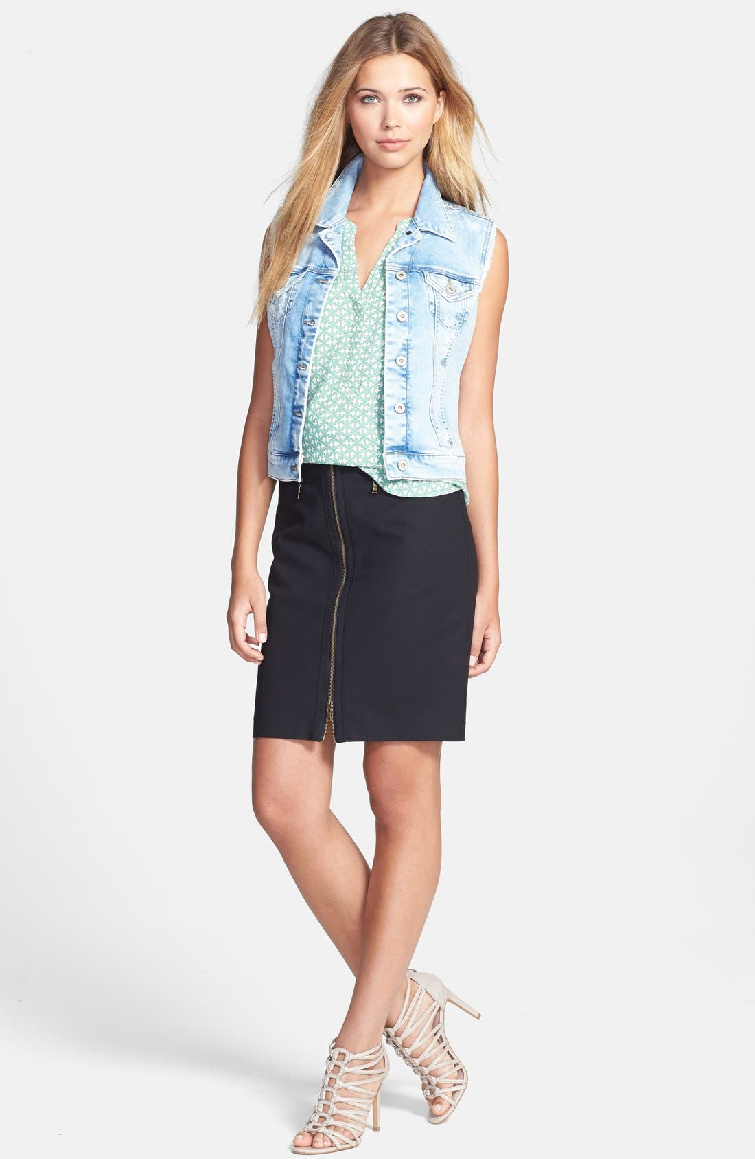 MAVI JEANS,                             'Jodi' Fitted Denim Vest,                             Alternate thumbnail 3, color,                             404