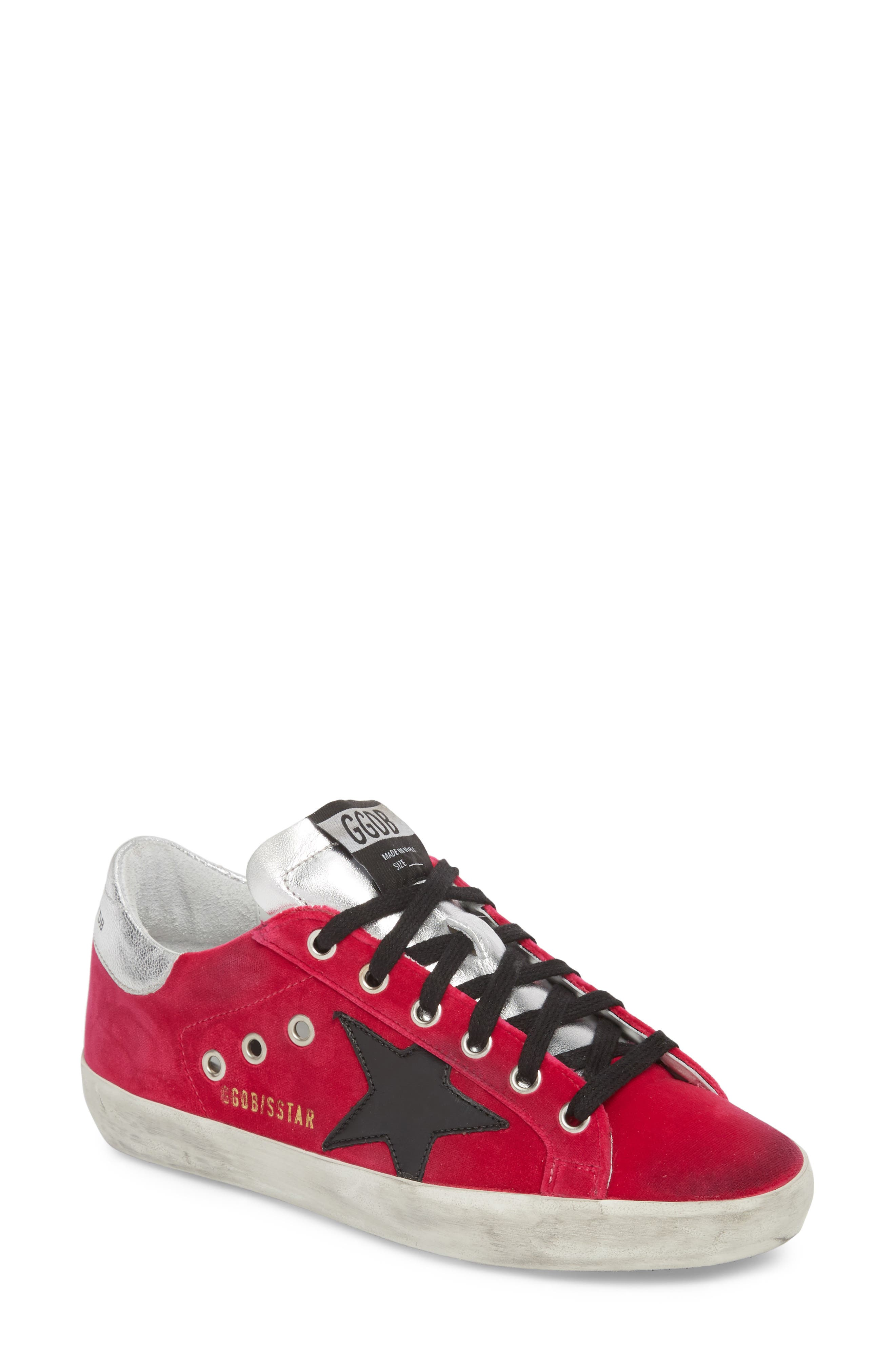 Superstar Low Top Sneaker,                             Main thumbnail 1, color,                             FUCHSIA/ BLACK
