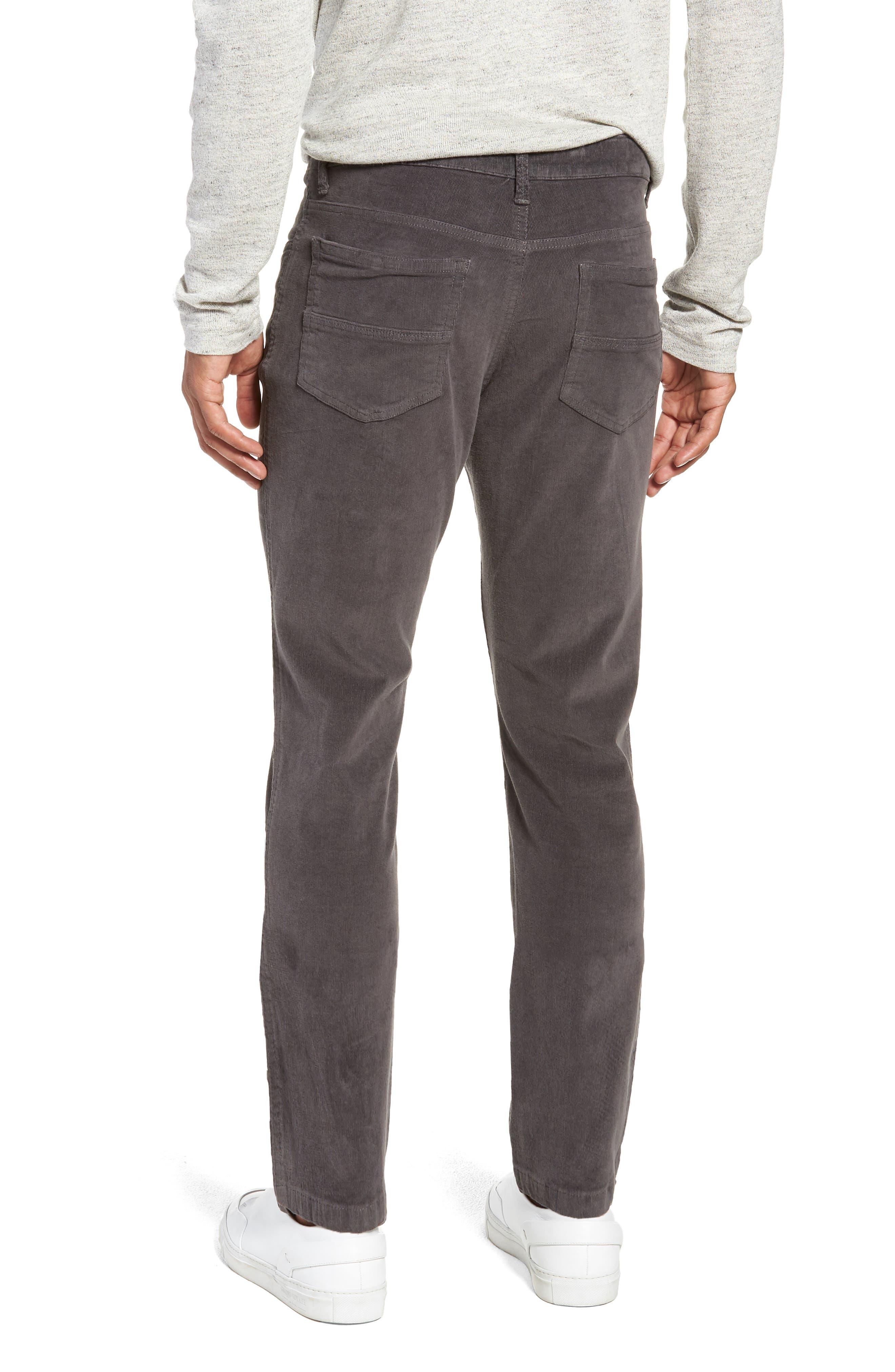 VINTAGE 1946,                             Modern Fit Stretch Corduroy Pants,                             Alternate thumbnail 2, color,                             CHARCOAL