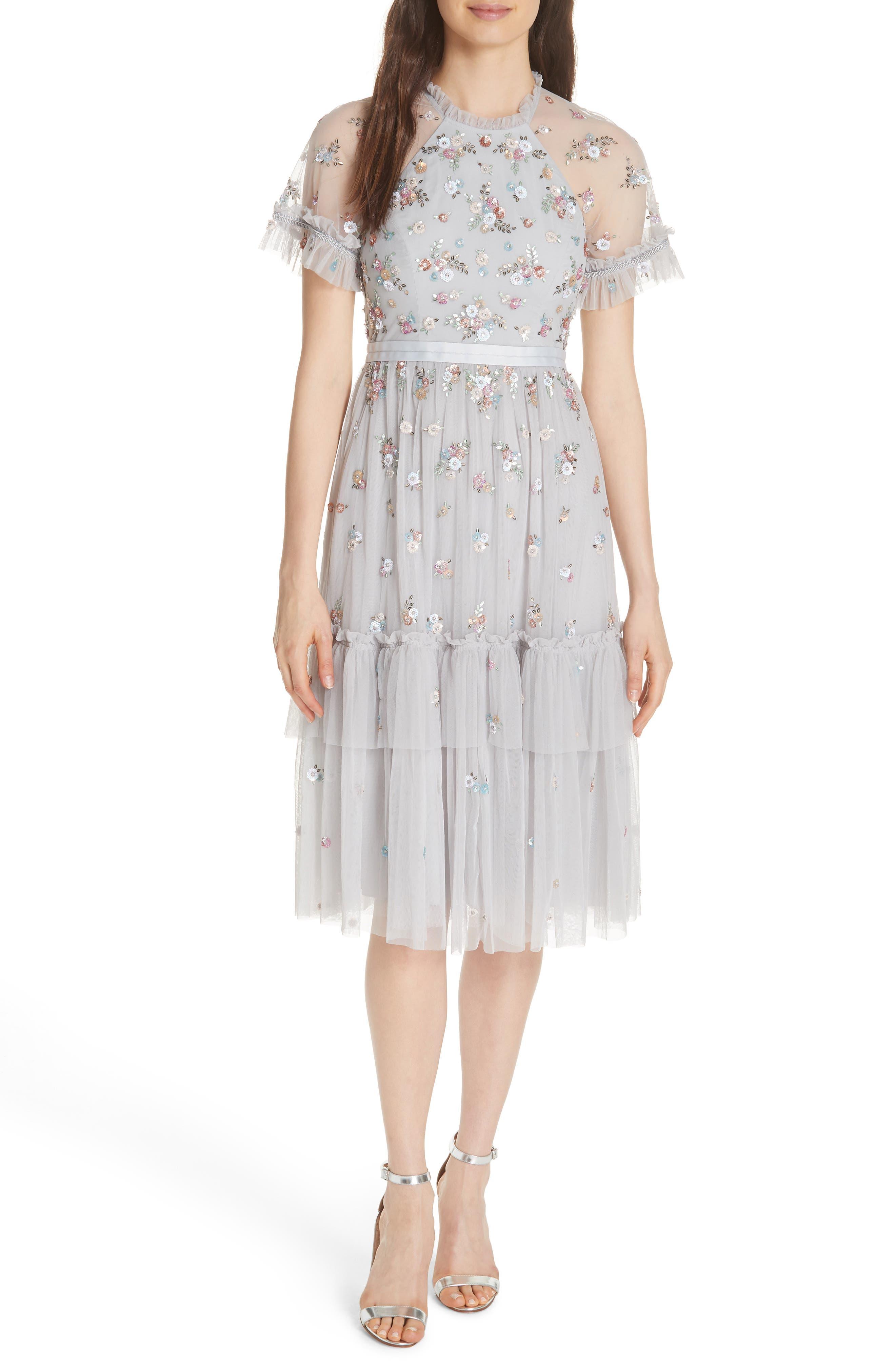 Lustre Sheer Sleeve Dress,                         Main,                         color, VINTAGE BLUE
