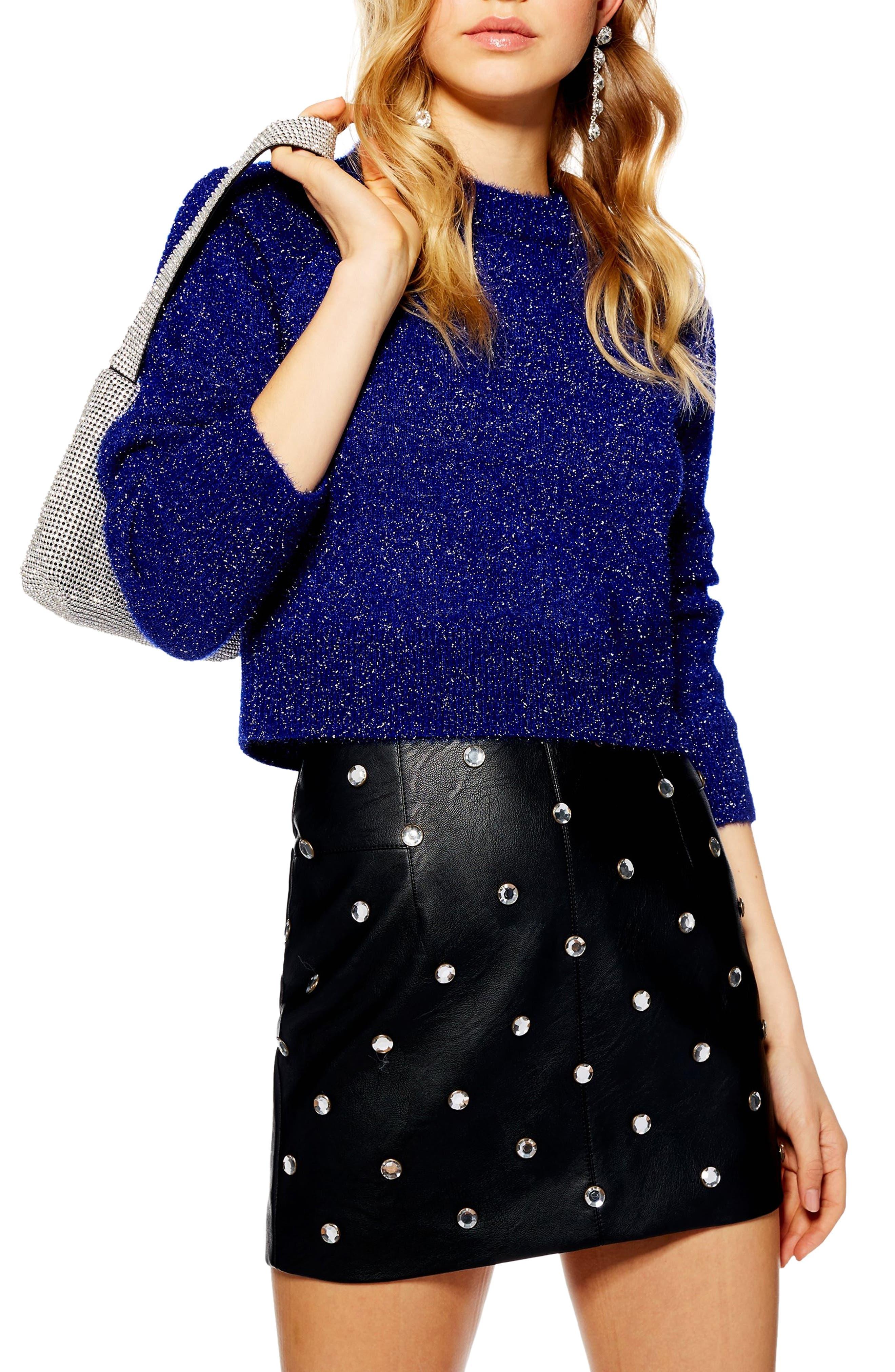 Metallic Crop Sweater,                         Main,                         color, BLUE
