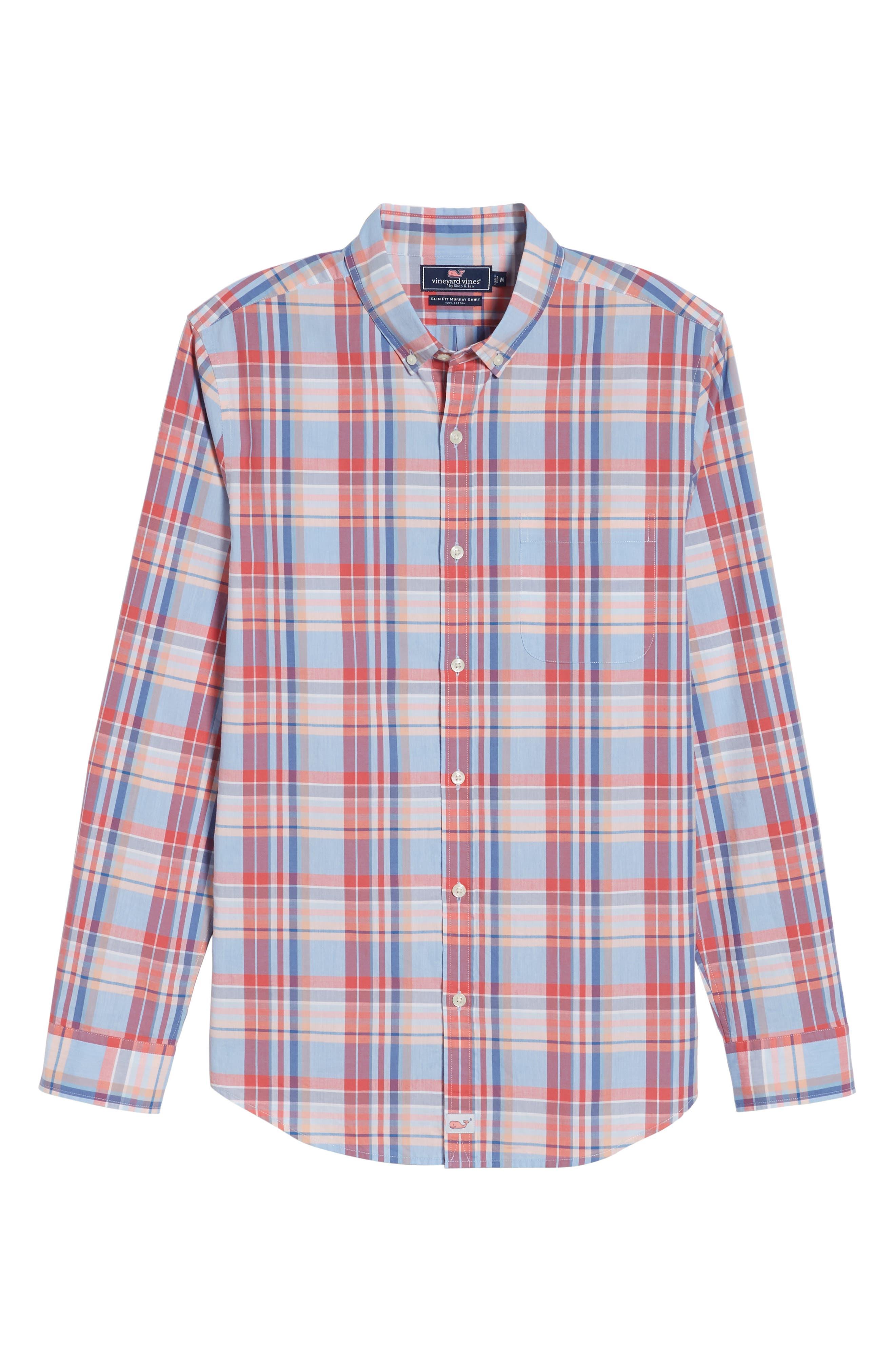 Fox Town Slim Fit Plaid Sport Shirt,                             Alternate thumbnail 6, color,                             628