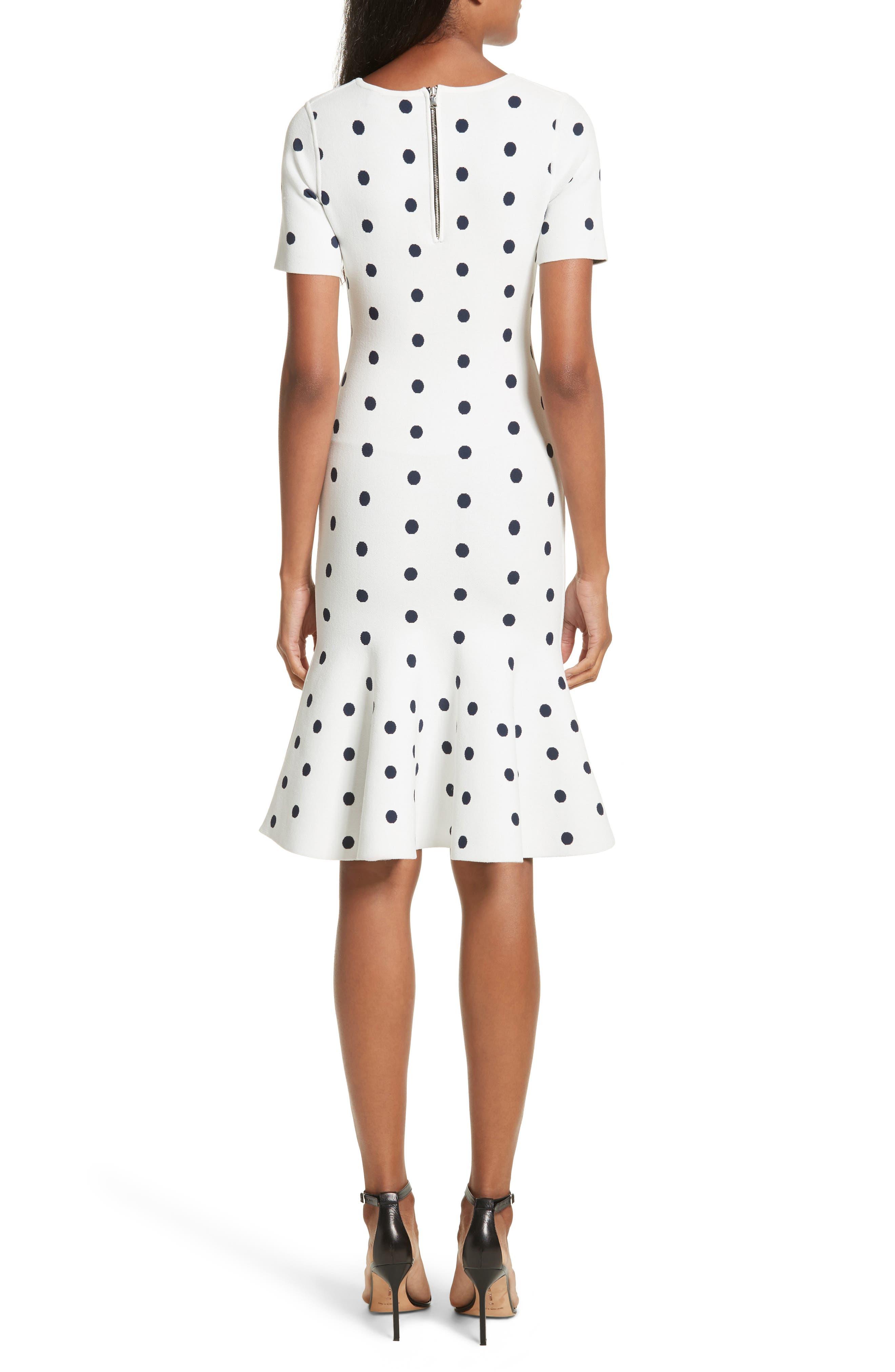 Polka Dot Mermaid Dress,                             Alternate thumbnail 2, color,                             WHITE/ NAVY