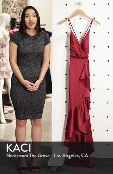Satin High/Low Faux Wrap Gown, sales video thumbnail