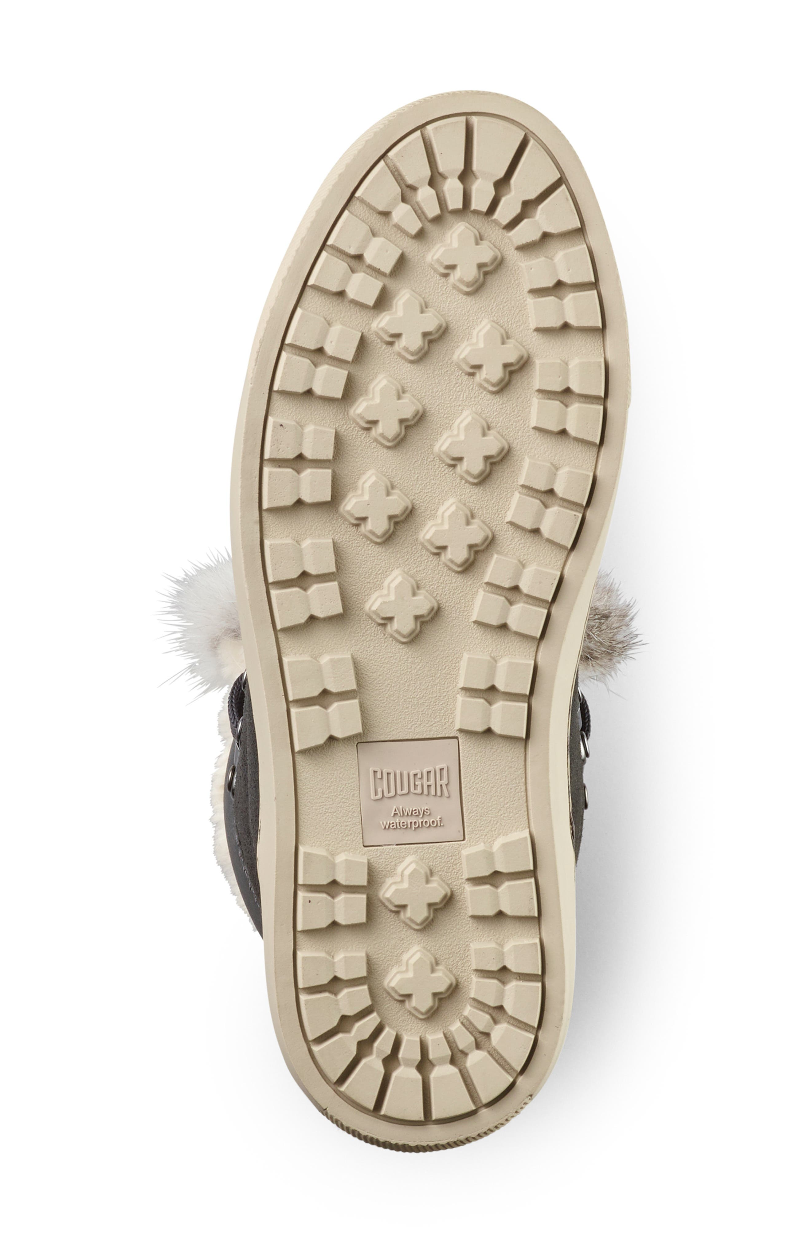 COUGAR,                             Dani High Top Sneaker with Genuine Rabbit Fur Trim,                             Alternate thumbnail 4, color,                             PEWTER SUEDE