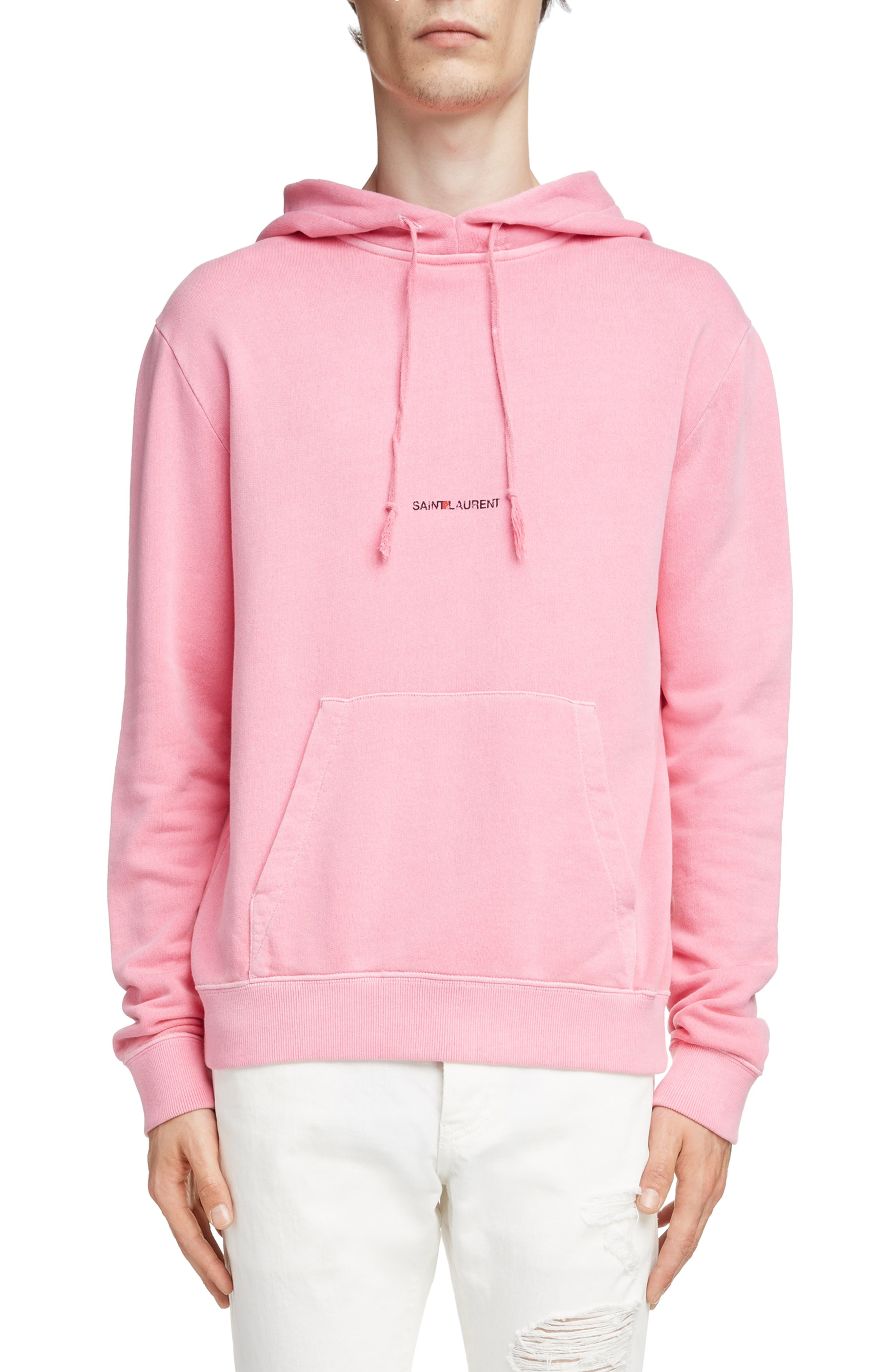 Logo Hooded Sweatshirt, Main, color, FUSCHIA AND NOIR