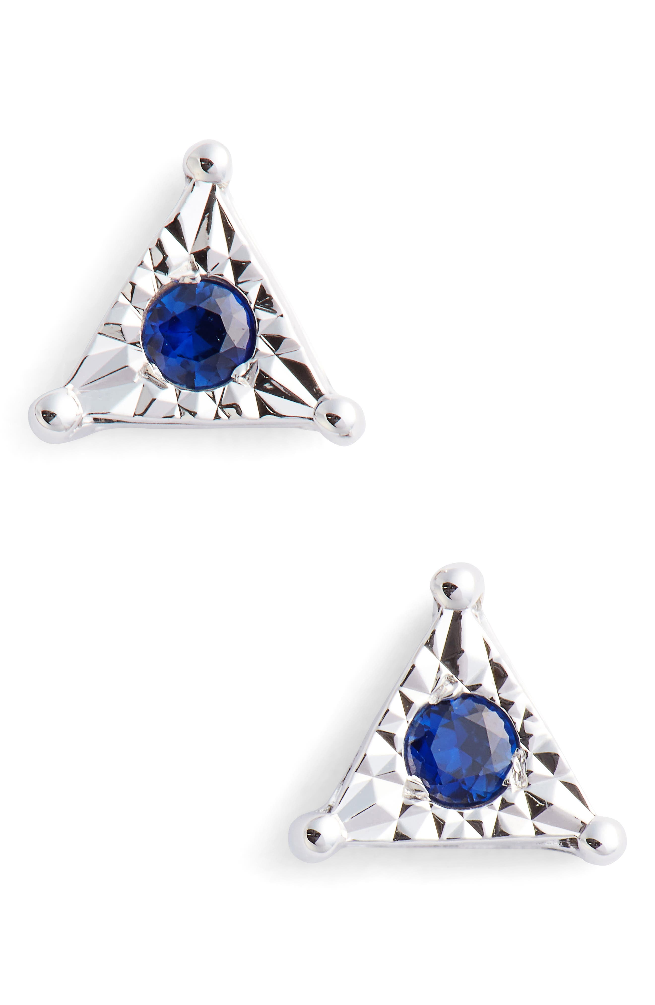 Emily Sarah Triangle Stud Earrings,                             Main thumbnail 1, color,                             WHITE GOLD/ BLUE SAPPHIRE