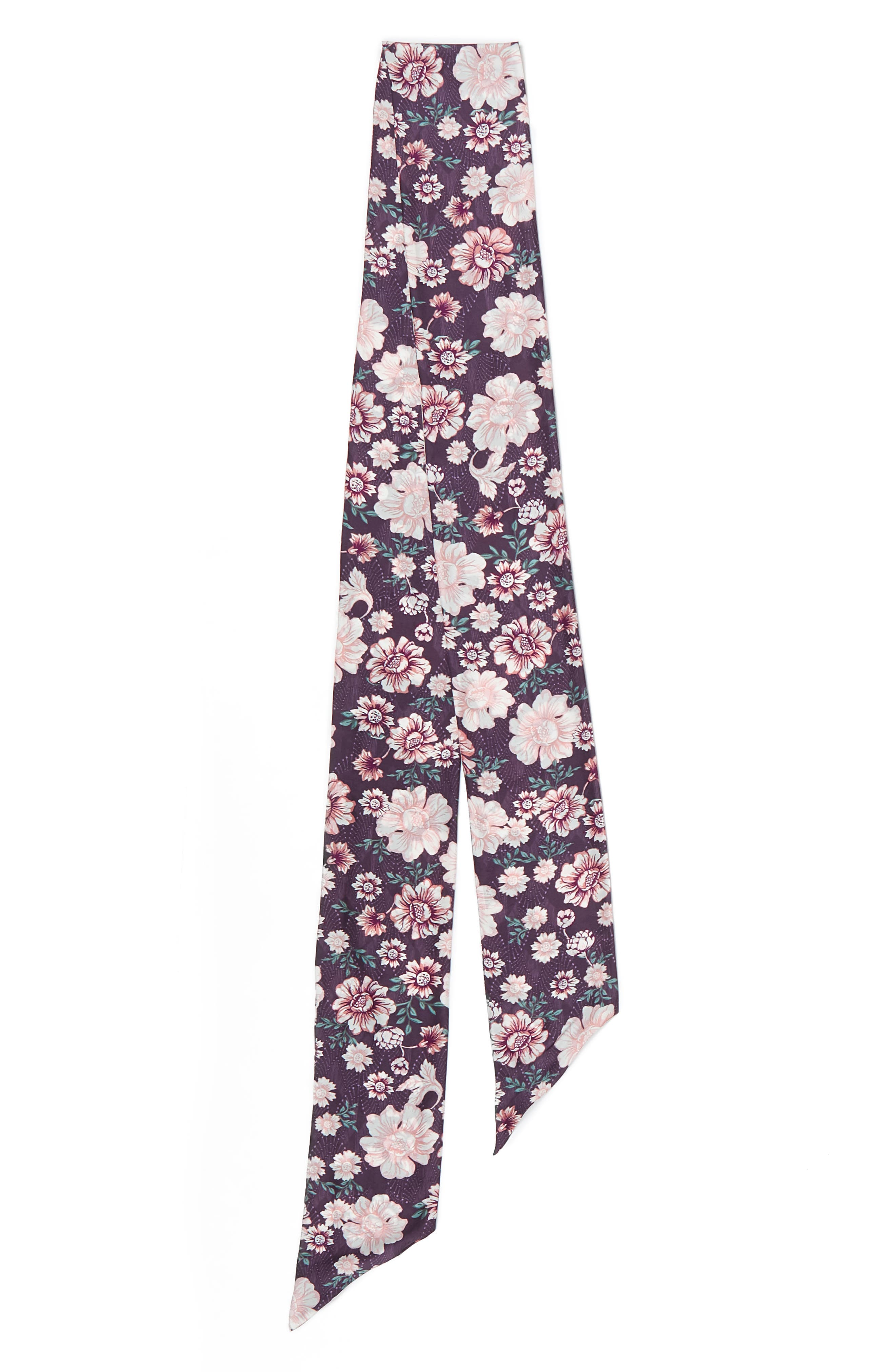 Mirrored Floral Silk Skinny Scarf,                             Alternate thumbnail 6, color,