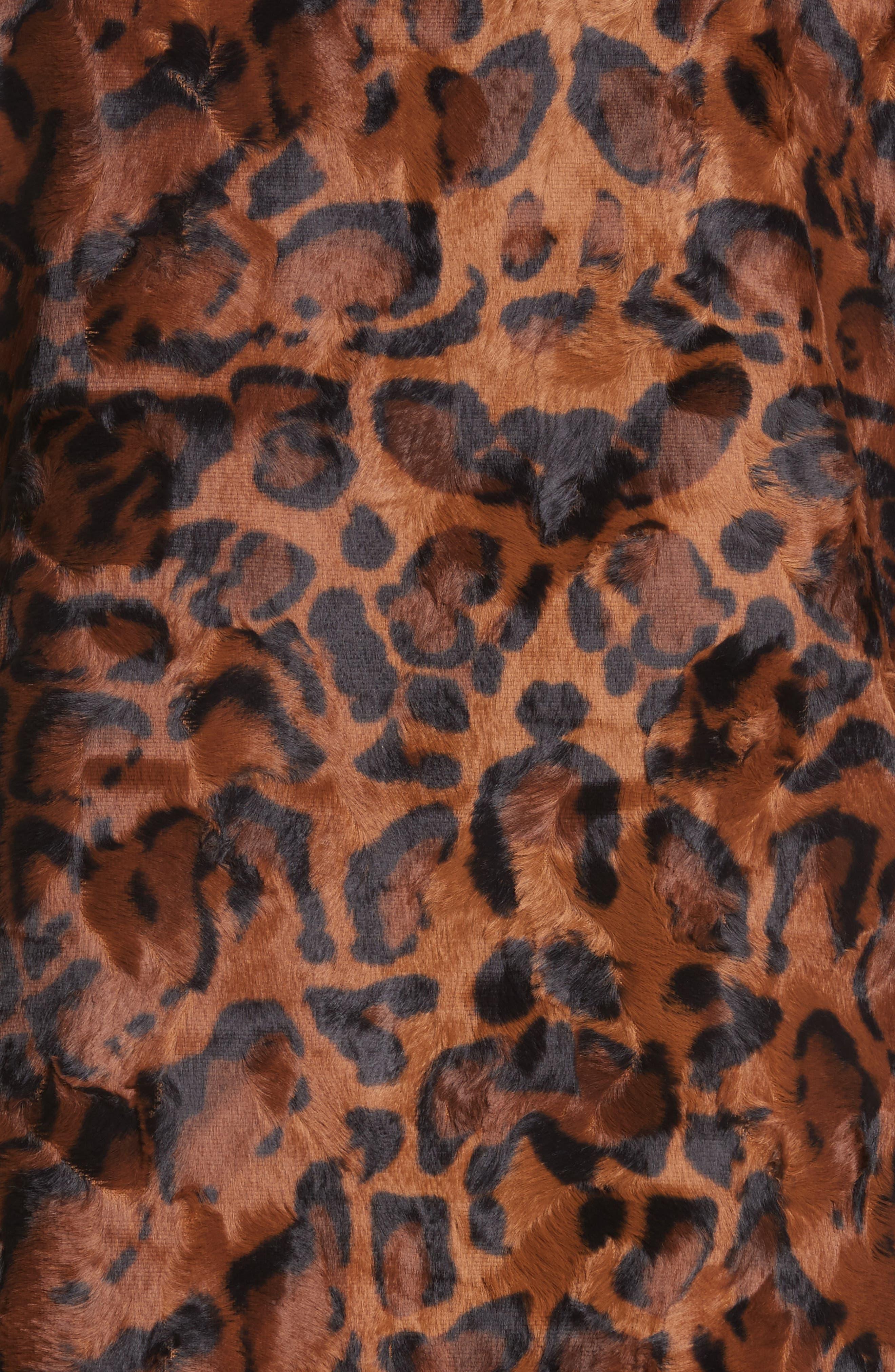 Papa Puss Leopard Print Faux Fur Coat,                             Alternate thumbnail 6, color,                             200