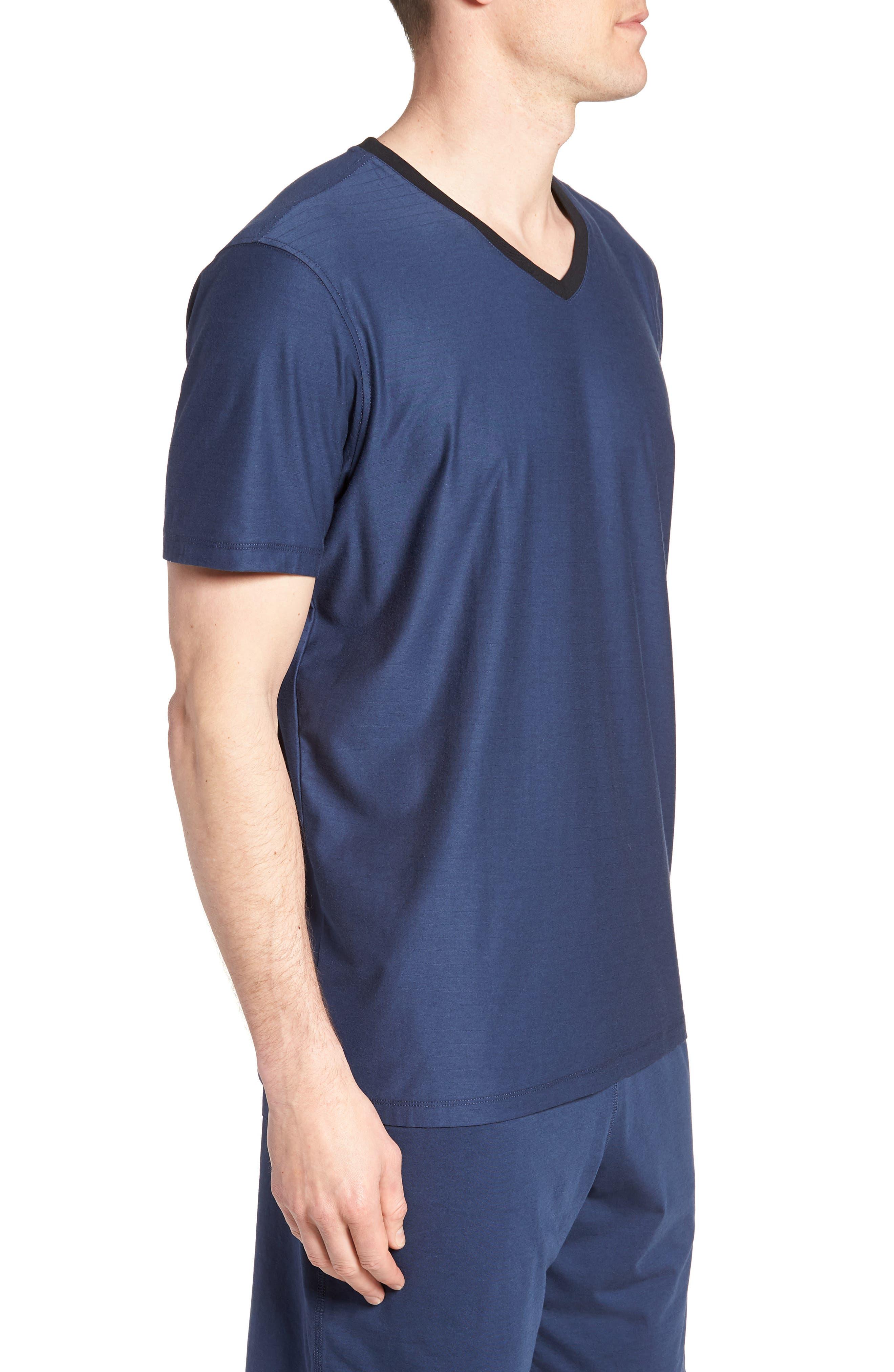 Pima Cotton & Modal V-Neck T-Shirt,                             Alternate thumbnail 3, color,                             NAVY