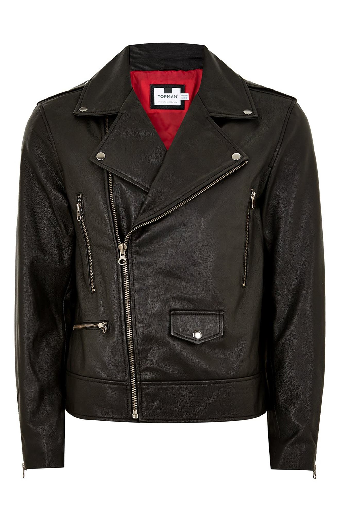 Classic Fit Leather Biker Jacket,                             Alternate thumbnail 4, color,                             BLACK