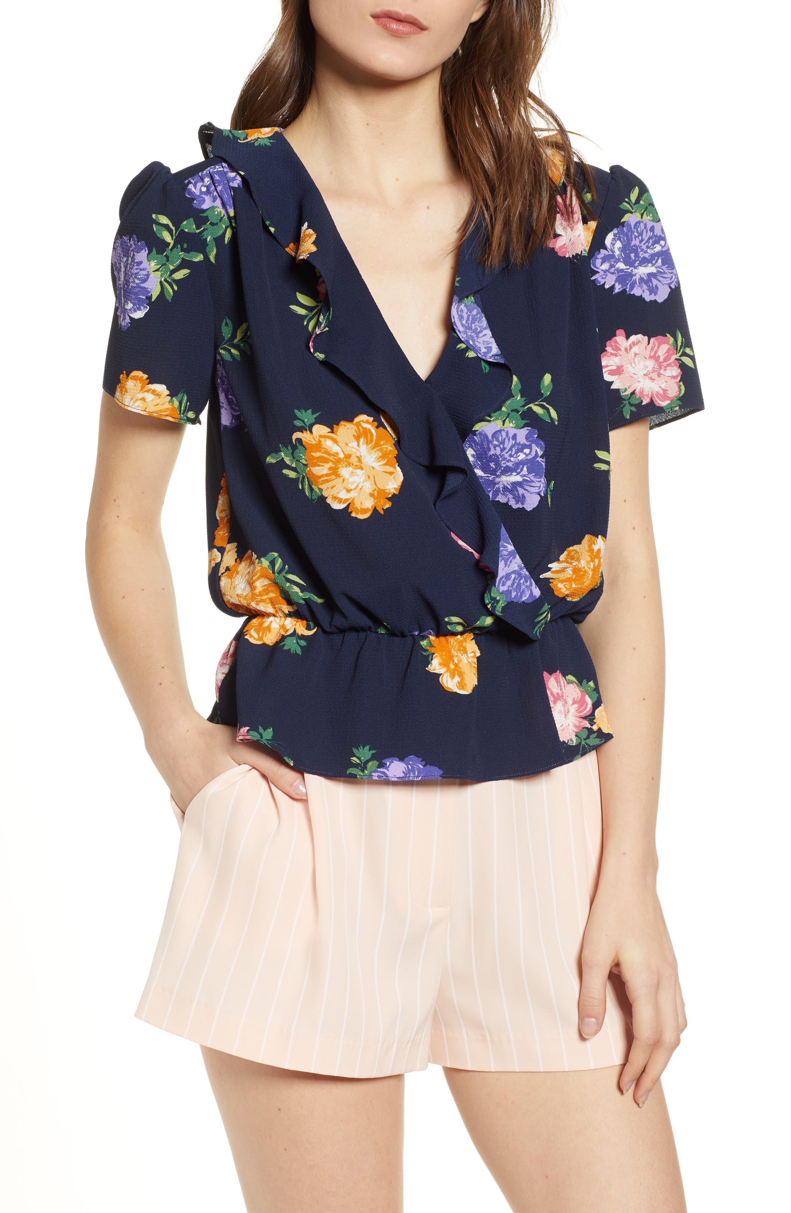 Frances Peplum Top, Main, color, NAVY FLORAL PRINT