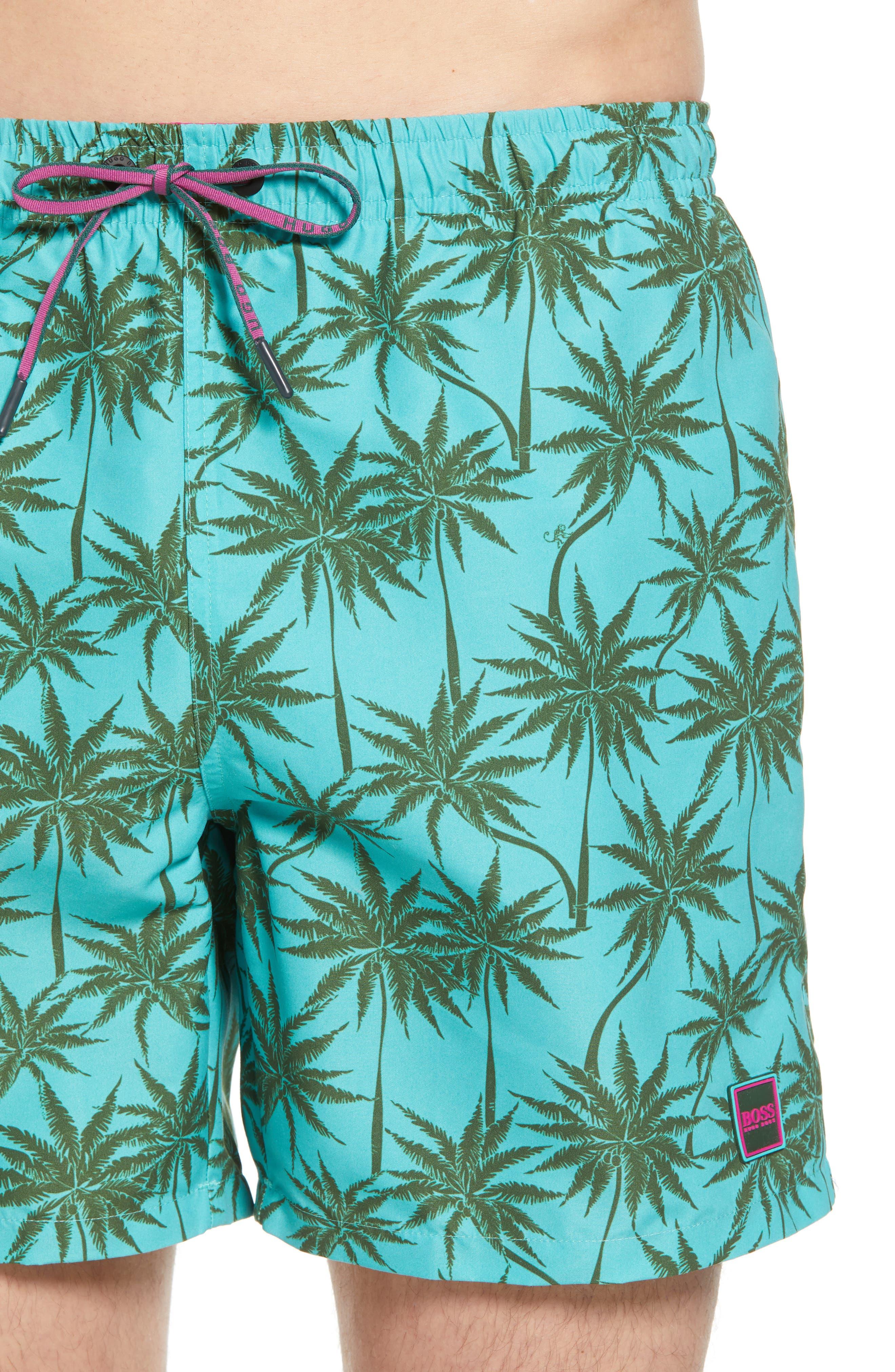 Piranha Palm Tree Swim Trunks,                             Alternate thumbnail 4, color,                             483