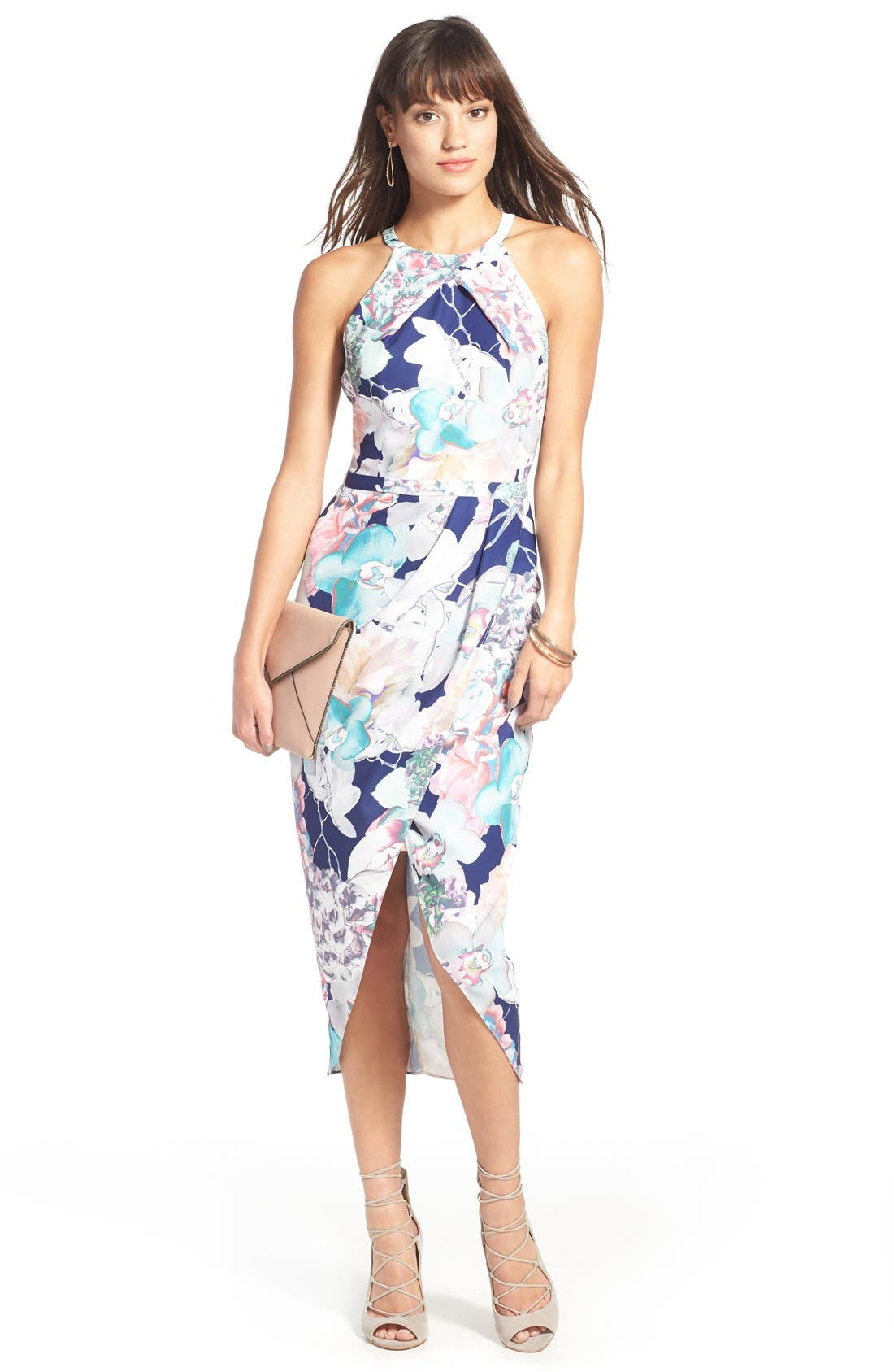 Floral Faux Wrap Dress,                             Alternate thumbnail 5, color,                             410