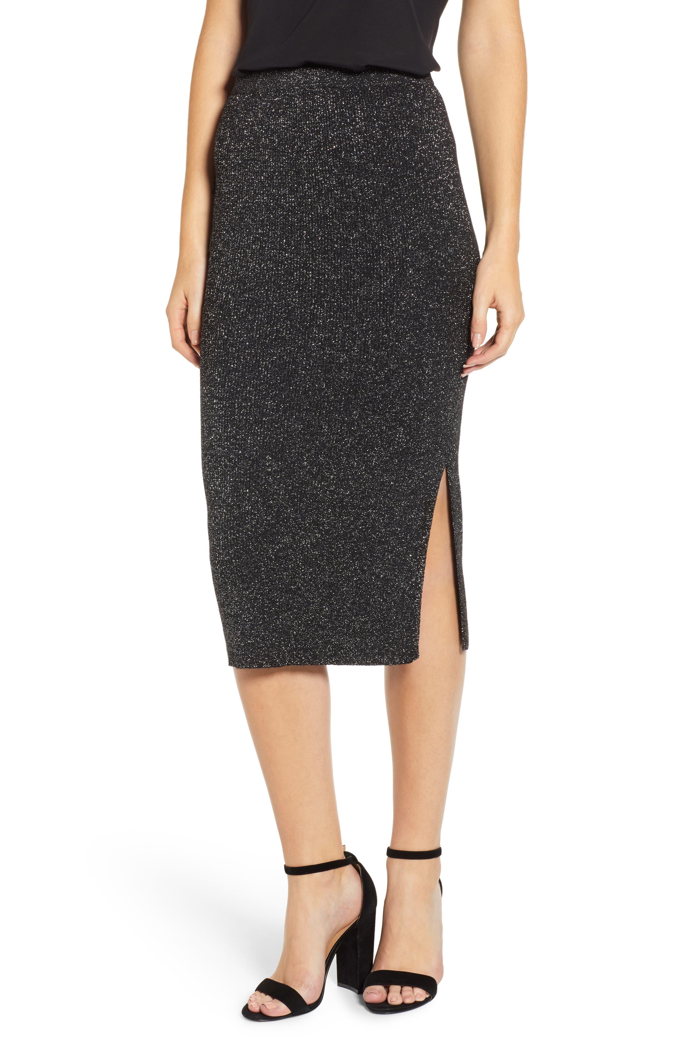 Metallic Pencil Skirt,                         Main,                         color, BLACK- SILVER SPANGLE METALLIC