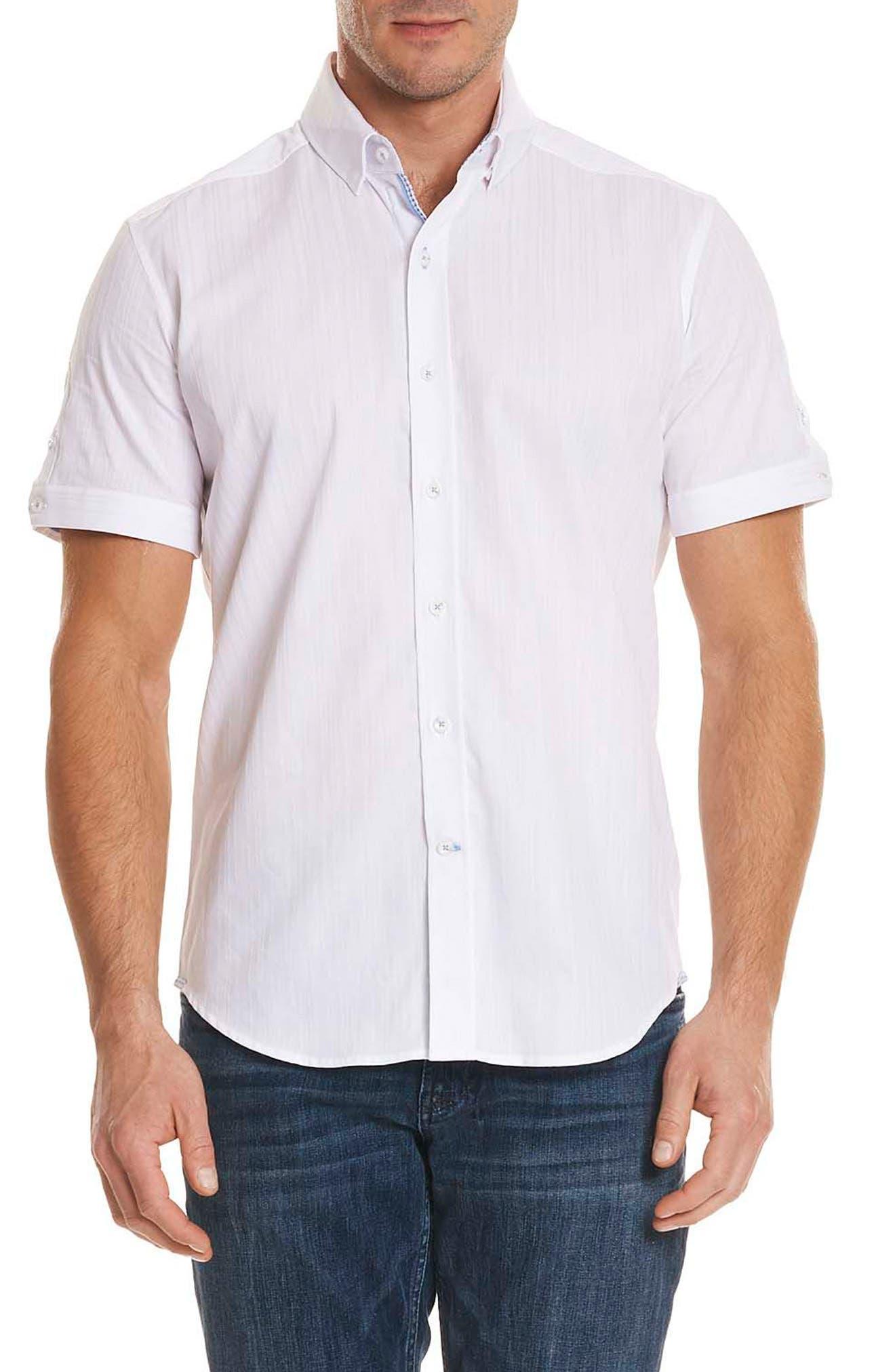Livingston Regular Fit Short Sleeve Sport Shirt,                         Main,                         color, 100