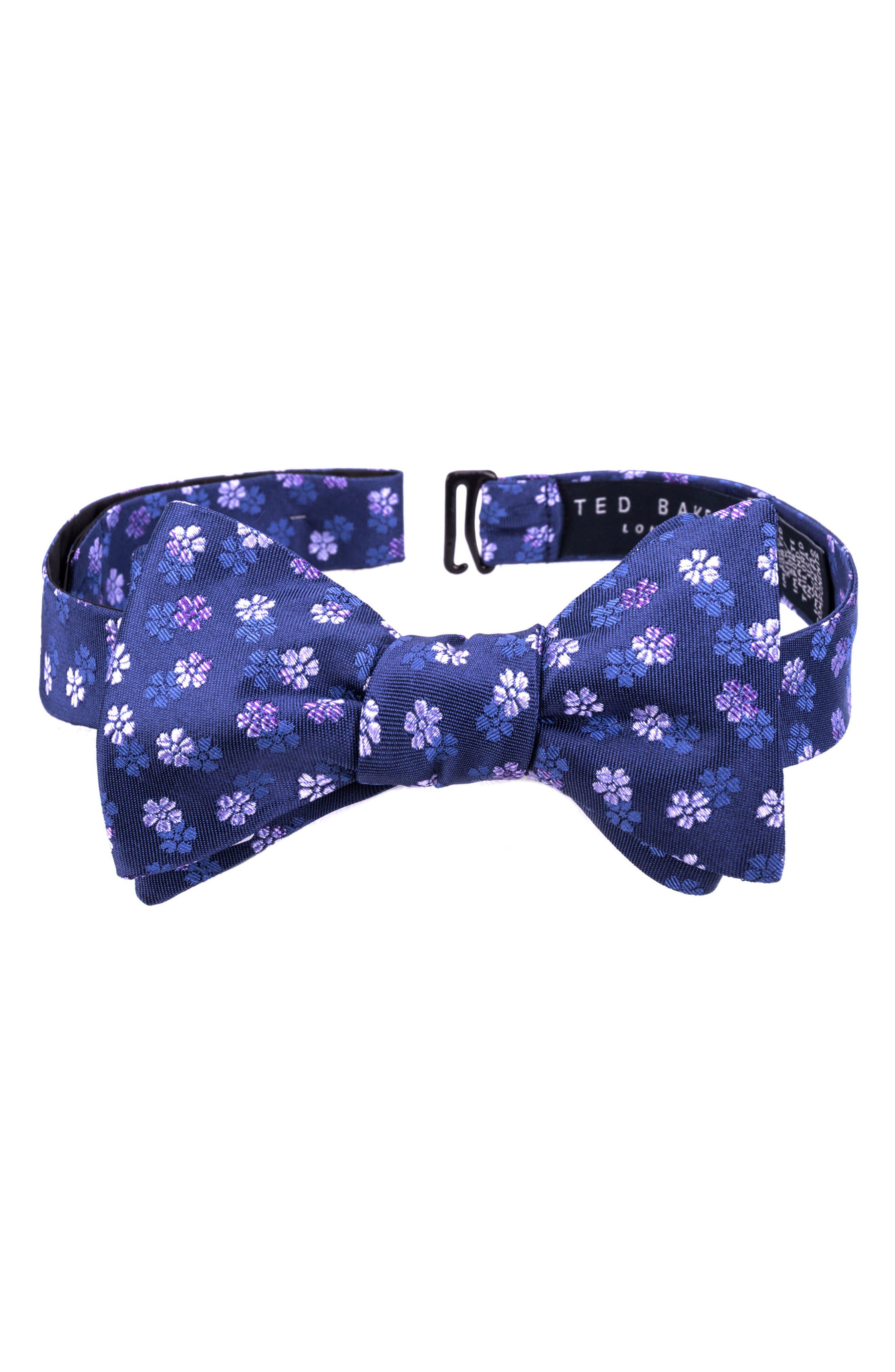 Floral Silk Bow Tie,                         Main,                         color, 599